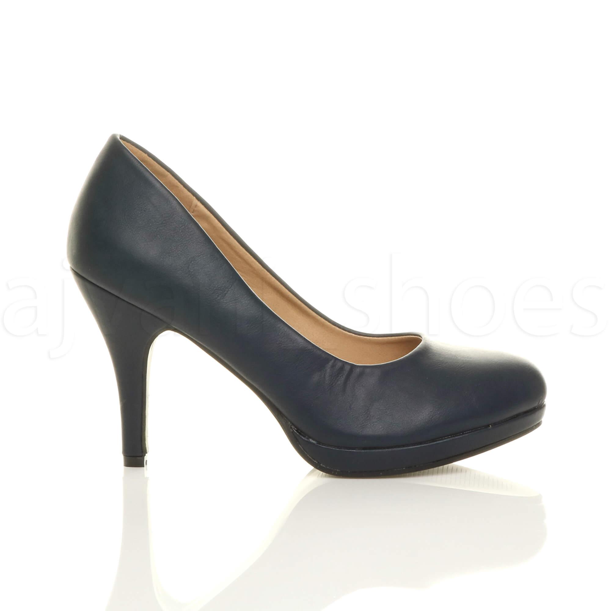 womens ladies mid high heel platform party work evening court shoes pumps size ebay. Black Bedroom Furniture Sets. Home Design Ideas