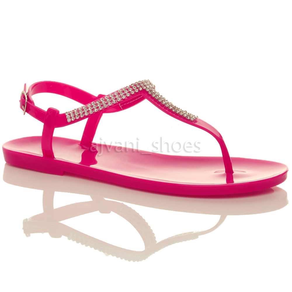 damen flach t riemen schnalle strass gummi sandalen flipflops zehentrenner gr e ebay. Black Bedroom Furniture Sets. Home Design Ideas