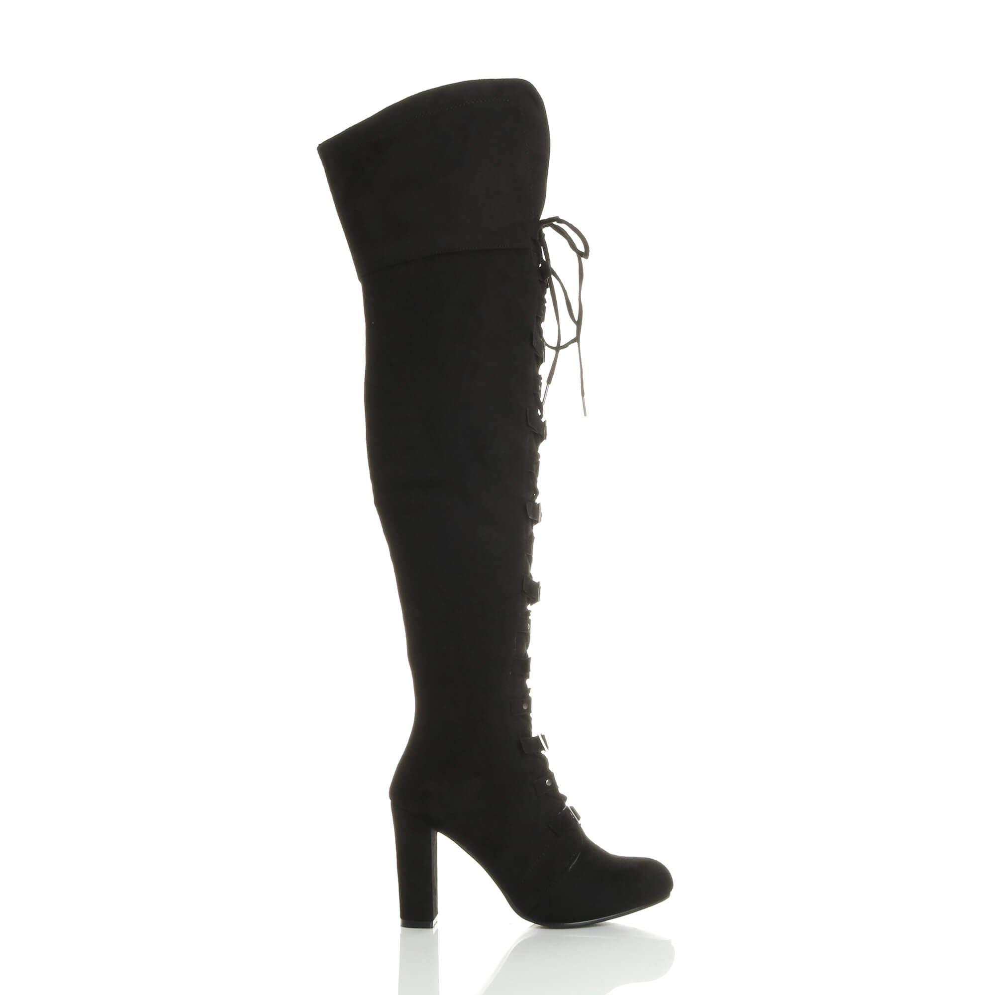 WOMENS LADIES HIGH BLOCK HEEL LACE UP BUCKLE PIRATE OVER KNEE THIGH BOOTS SIZE
