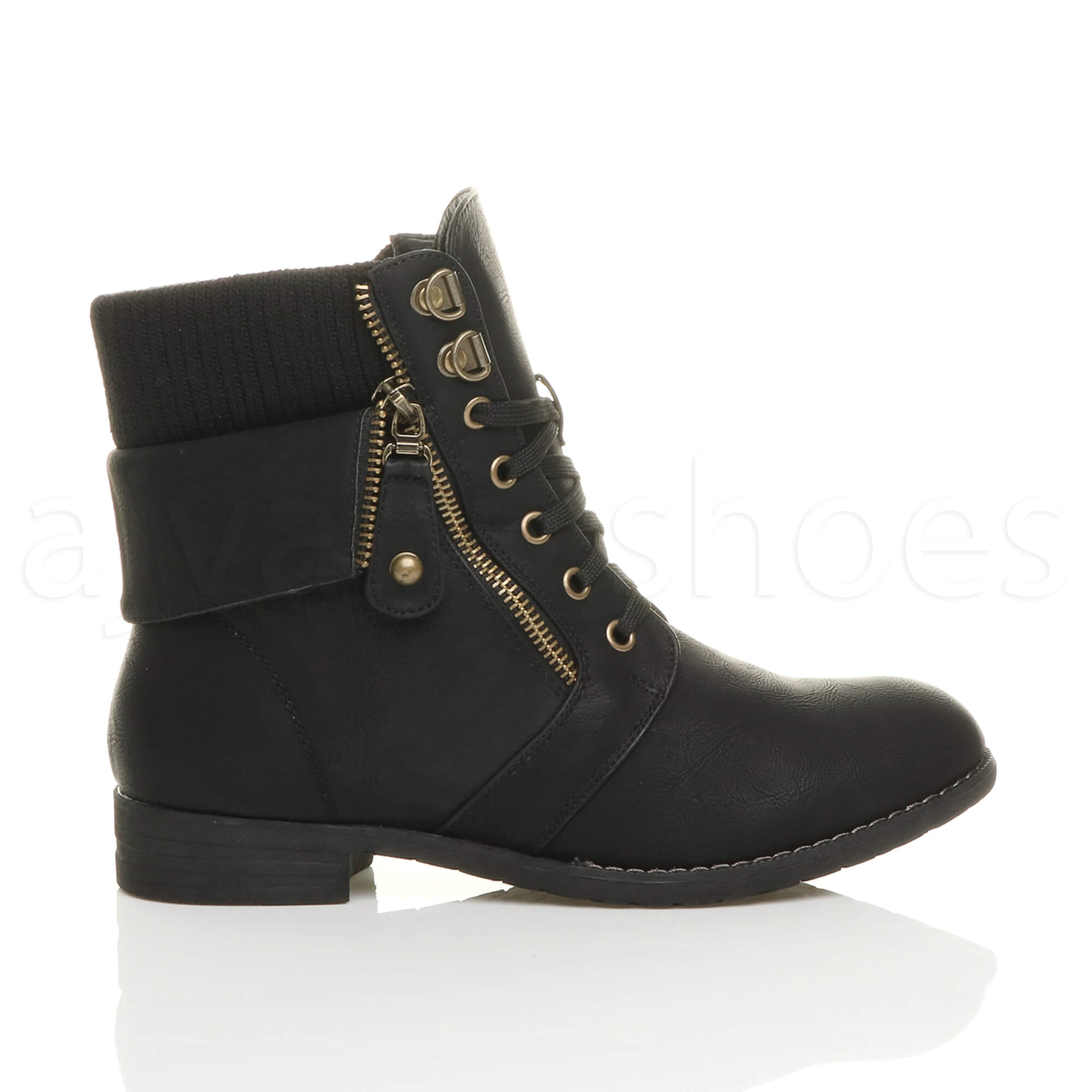 womens low heel lace up knitted cuff zip biker combat army