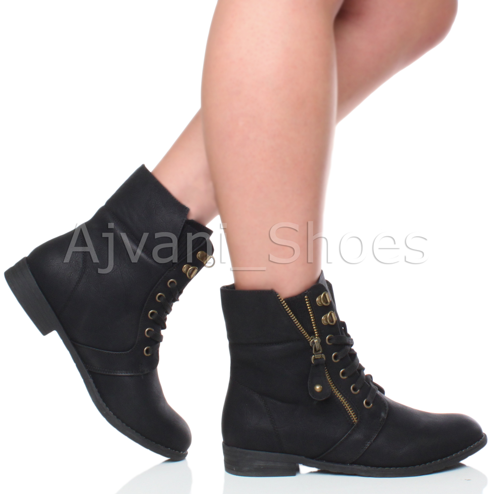WOMENS LOW HEEL LACE UP KNITTED CUFF ZIP BIKER COMBAT ARMY ...