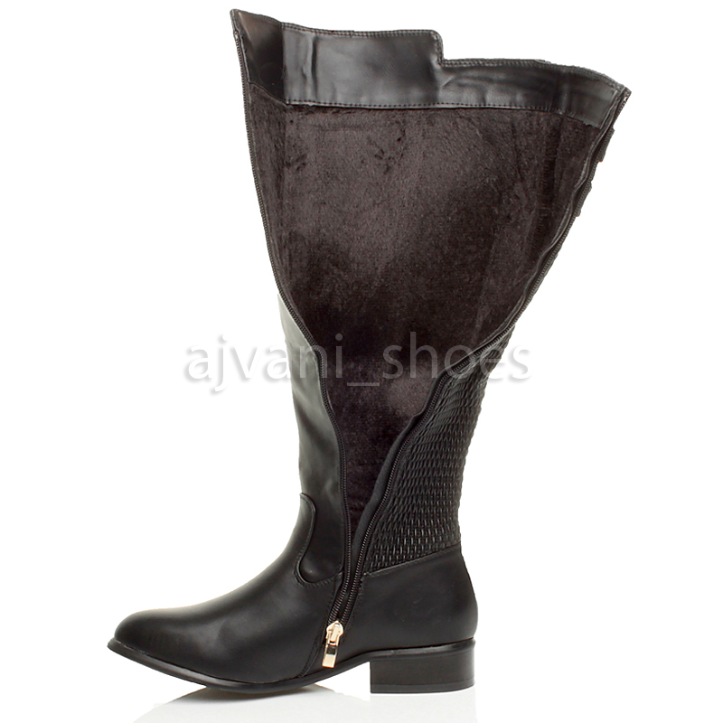 femme talon bas lastique jambe large hiver bottes de cheval cuissardes pointure ebay. Black Bedroom Furniture Sets. Home Design Ideas