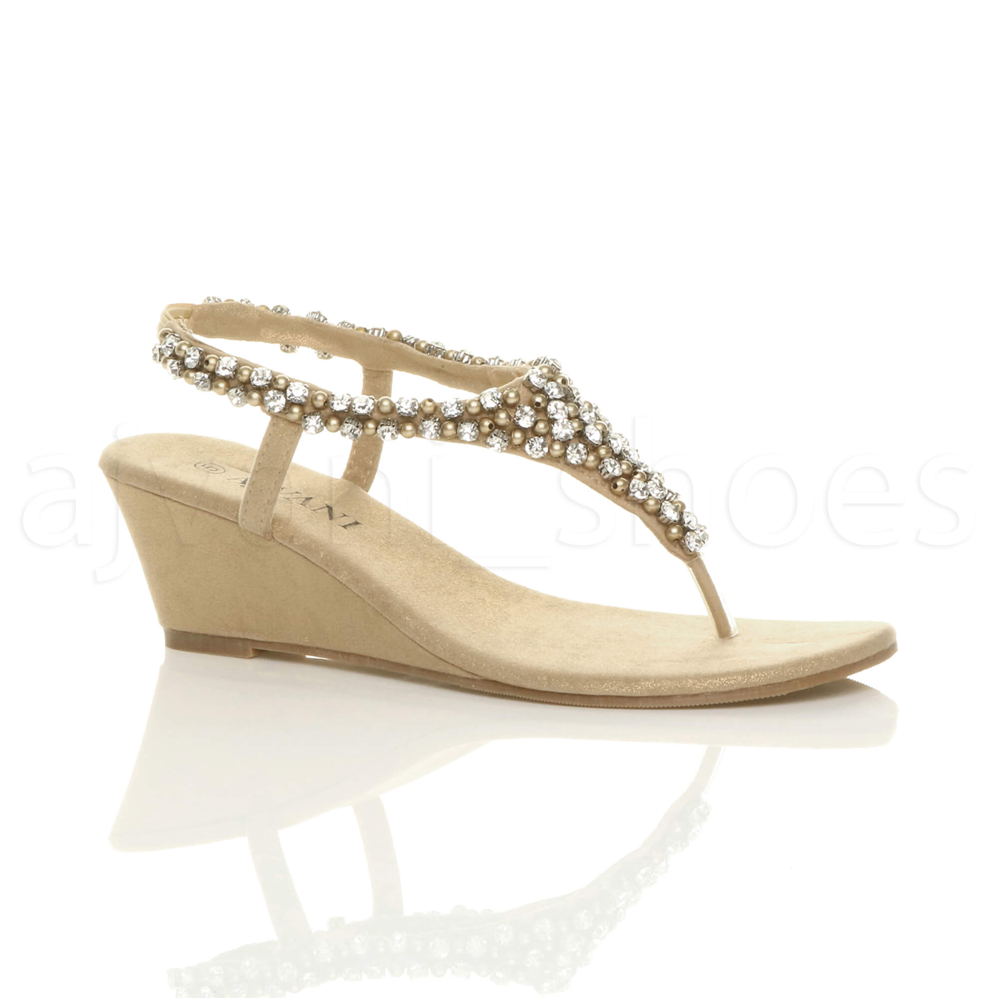 womens mid wedge heel slingback beaded diamante toe