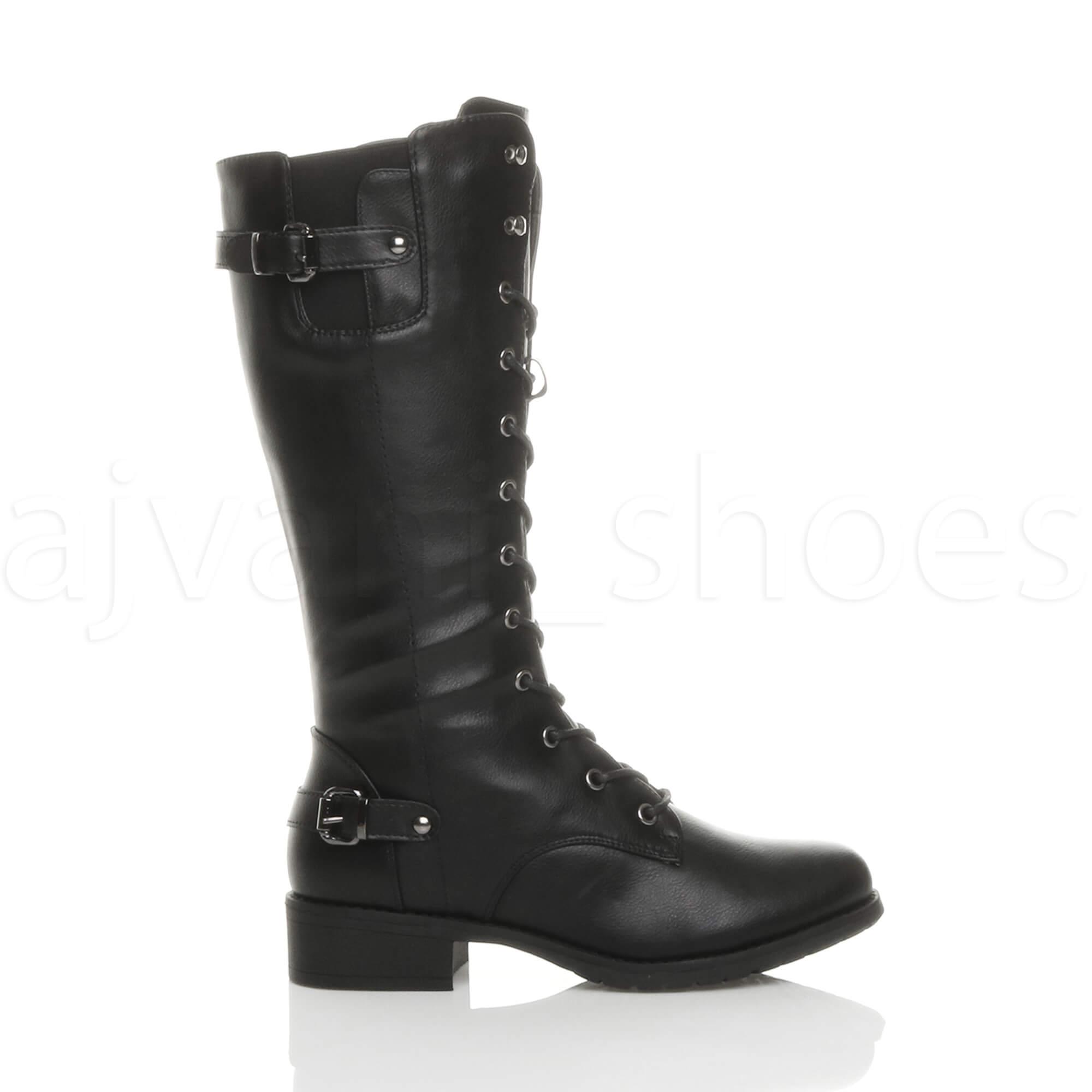 womens ladies low heel lace up zip biker army combat