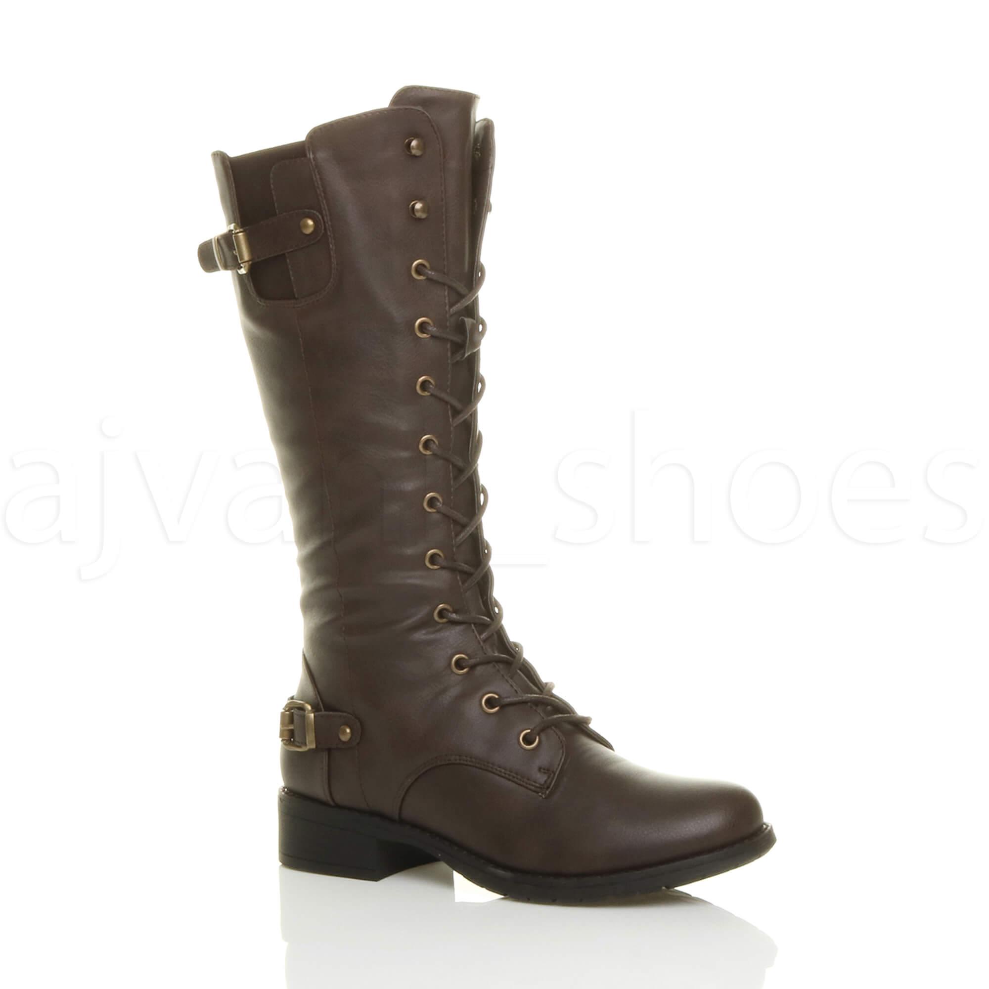 womens low heel lace up zip biker army combat