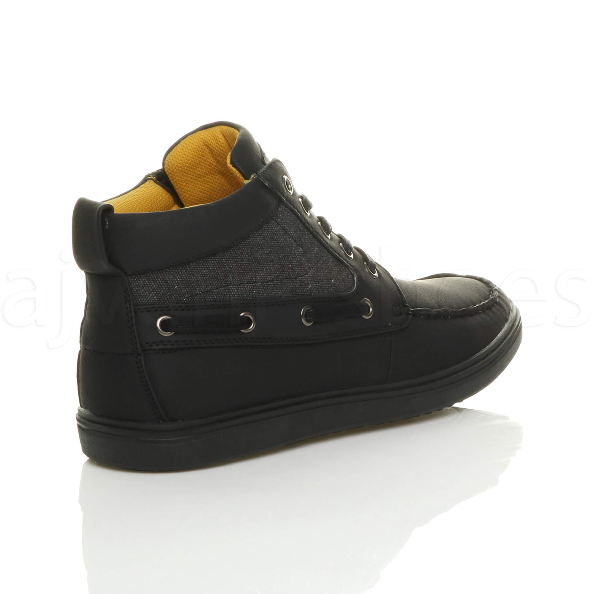 Hombre-plano-con-cordones-contraste-informal-barco-zapatillas-altas-botine-talla