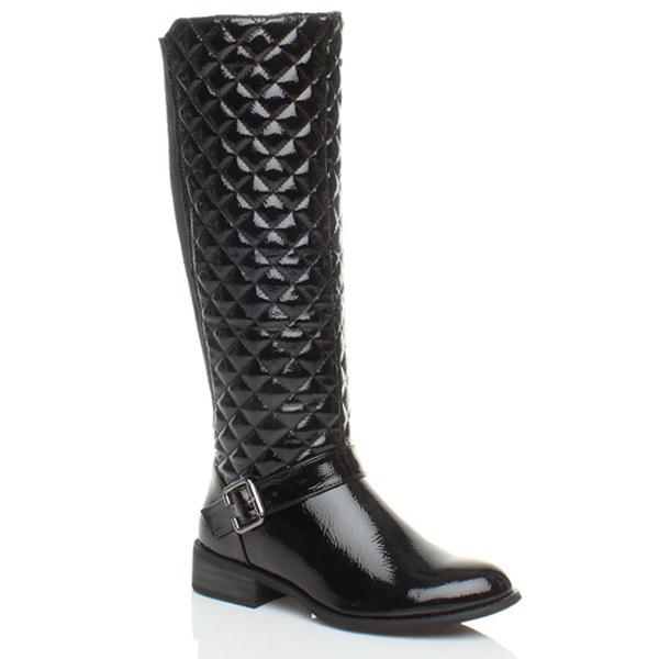 womens low heel flat biker stretch zip wide