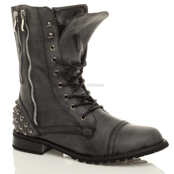 WOMENS-MILITARY-LADIES-COMBAT-ARMY-BIKER-LACE-UP-LOW-HEEL-FLAT-BOOTS-SIZE