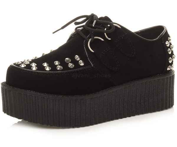 WOMENS-LADIES-FLAT-DOUBLE-PLATFORM-WEDGE-LACE-UP-PUNK-GOTH-CREEPERS-SHOES-SIZE