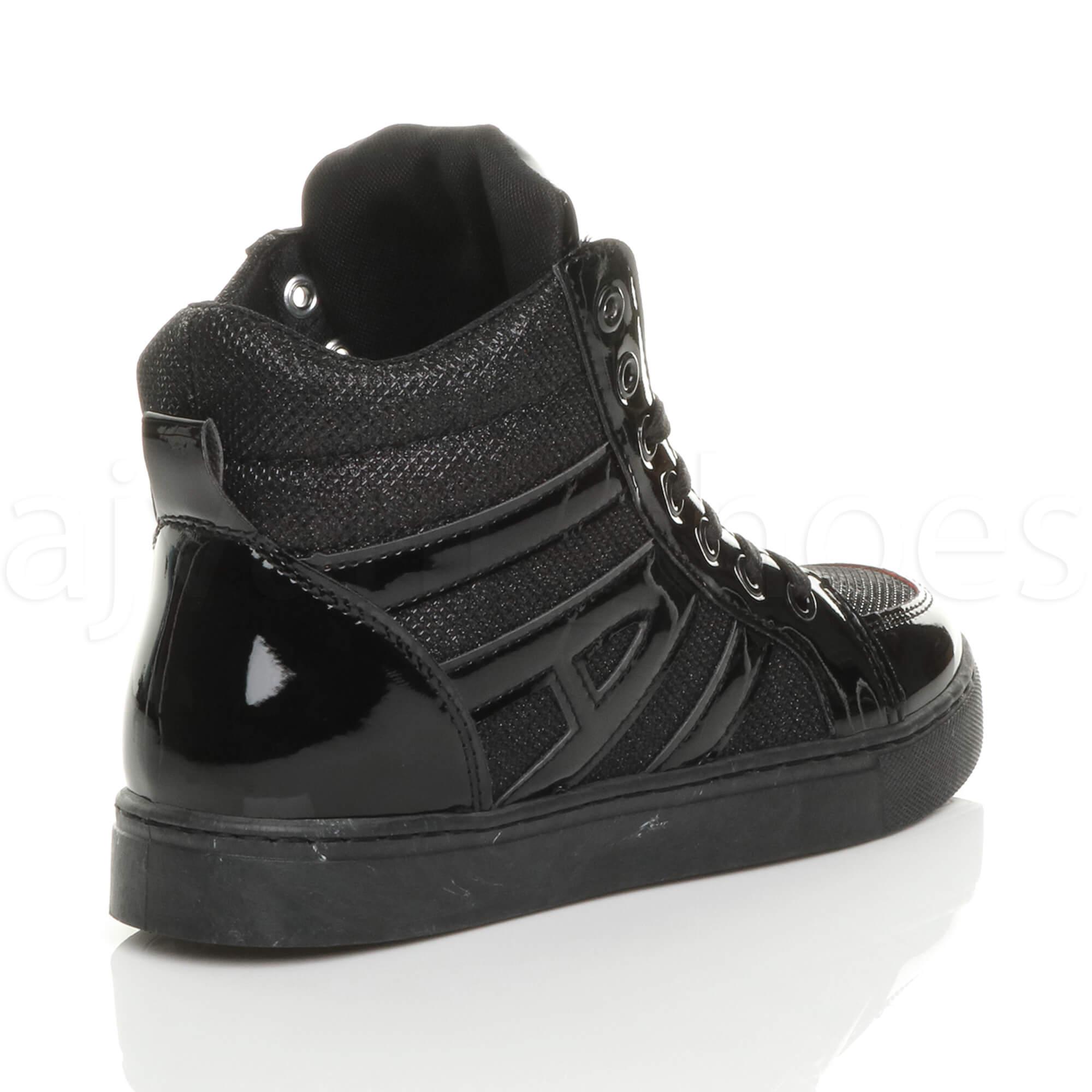 Womens Ladies Flat Lace Up Metallic paillettes Hi-Top Trainers Bottines Boots Size
