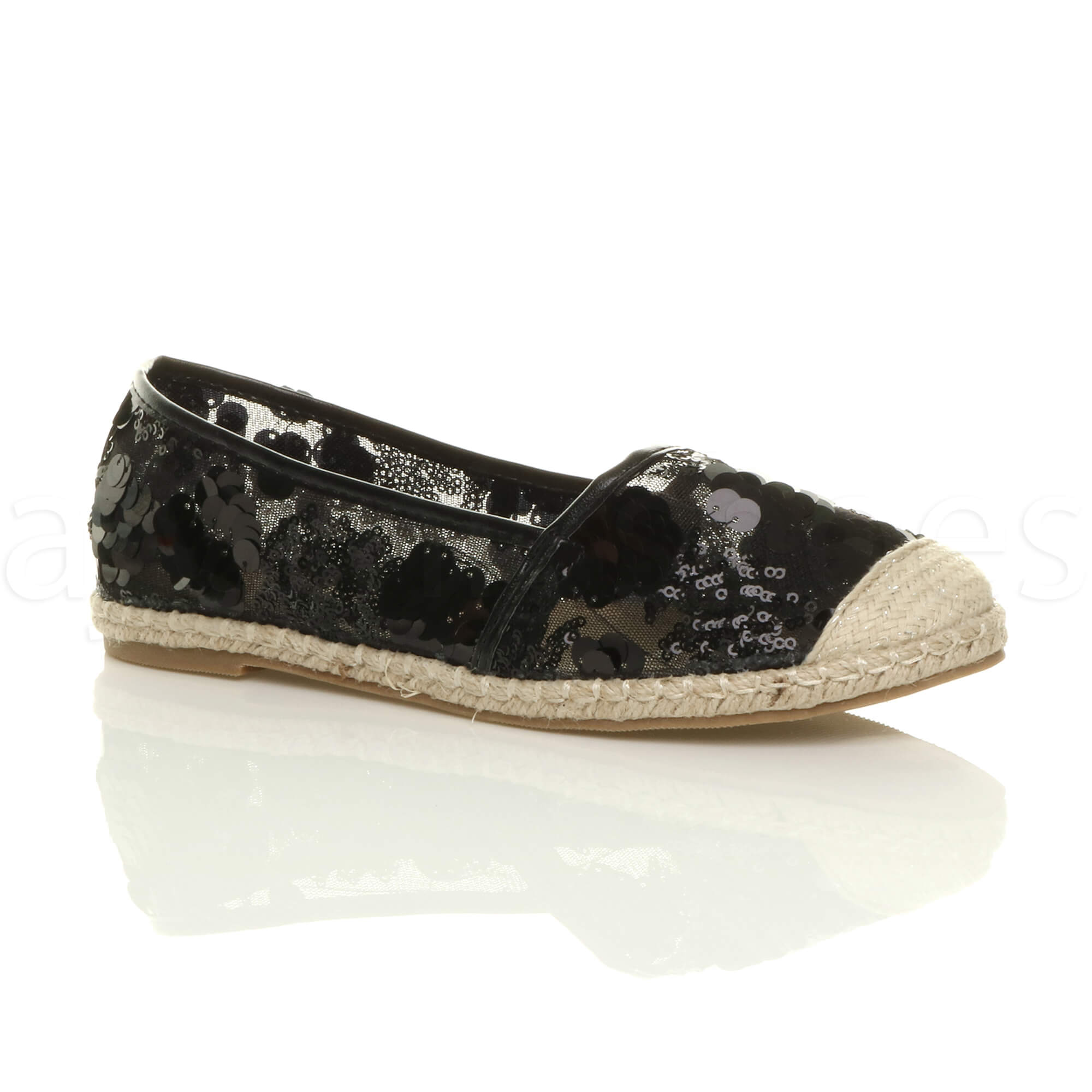 womens flat sequin mesh lace slip on dolly