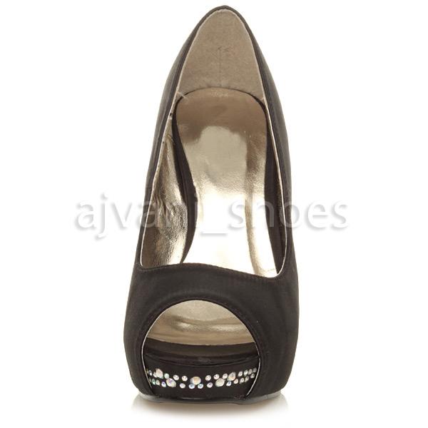 Mujer De Las Señoras Noche De Boda Tacón Alto Plataforma Peeptoe Corte Zapatos Talla