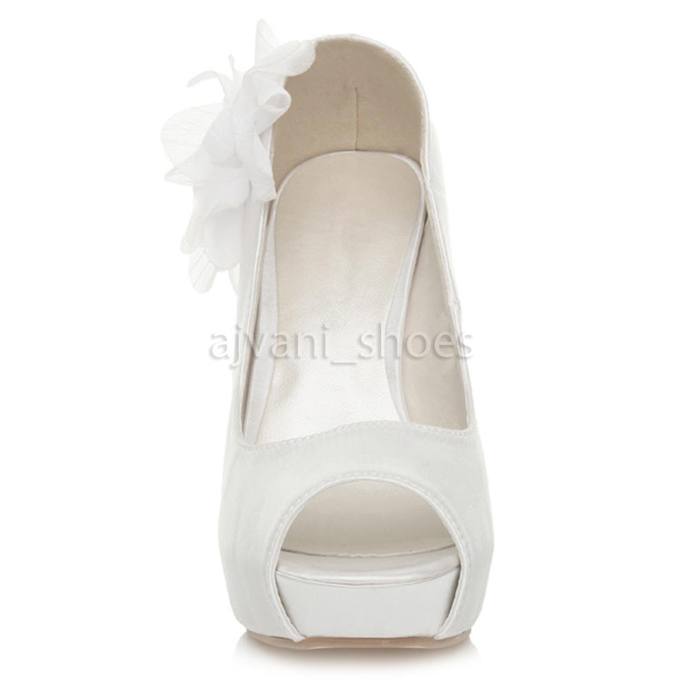 Damen hohen Absatz Peep Toe Blume Hochzeit Abend Sandalen Plateau-Schuhe Größe