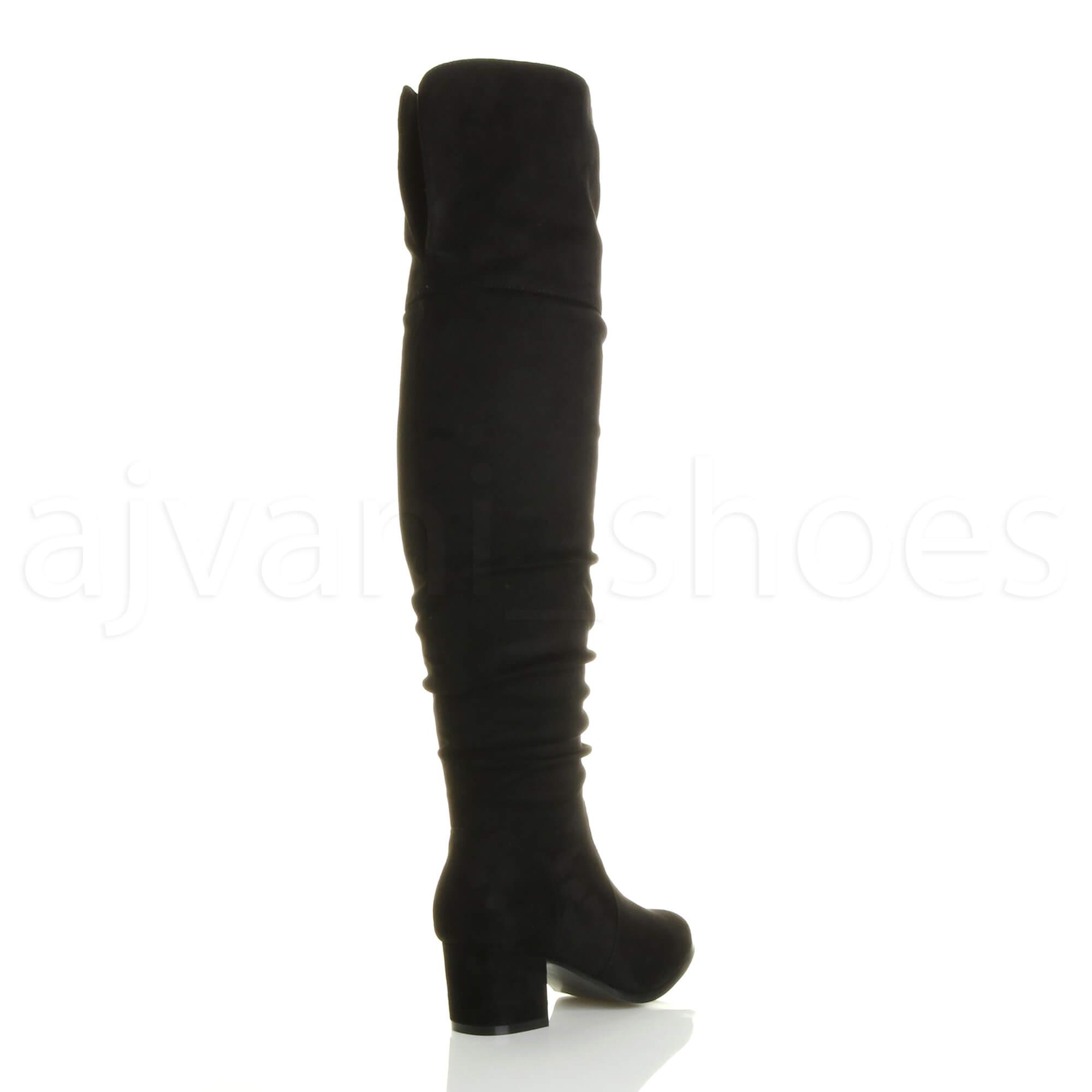 womens mid block heel thigh high zip ruched