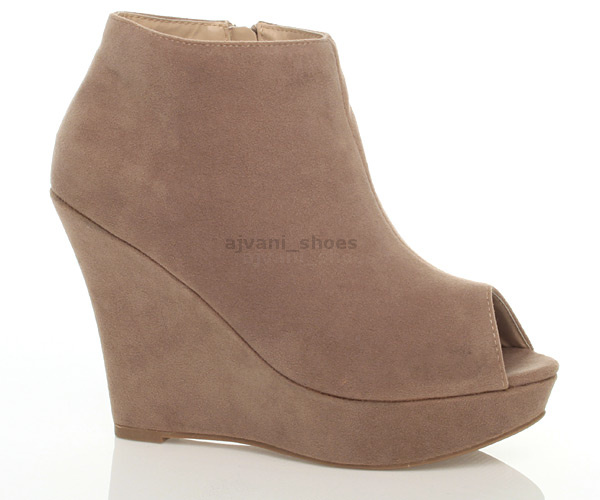 womens platform wedge peep toe peeptoe ankle shoes
