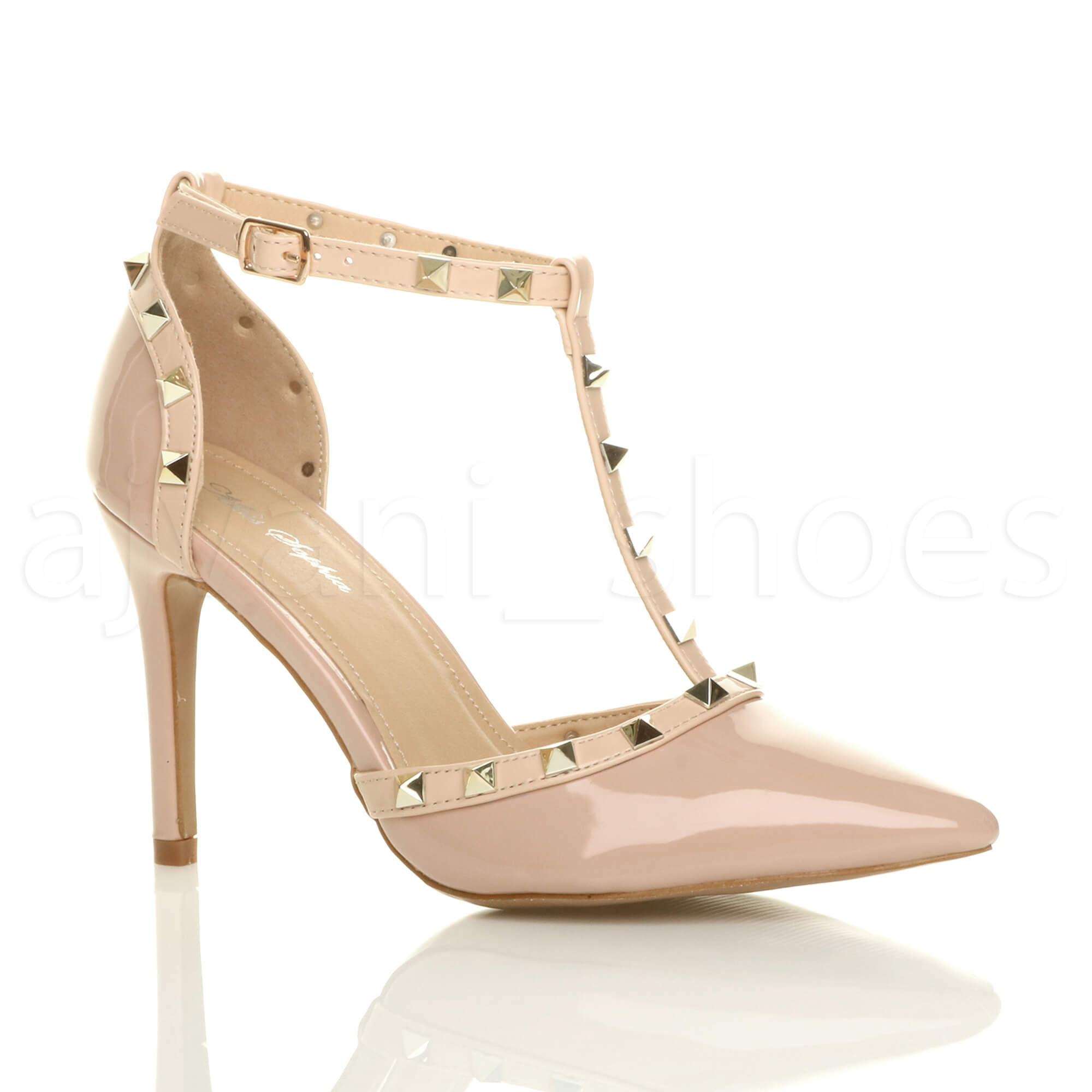 WOMENS LADIES HIGH HEEL CONTRAST STUDDED T-BAR POINTED COURT SHOES SANDALS SIZE   EBay