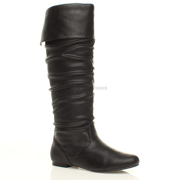 womens flat cuff knee high pull on slouch boots size