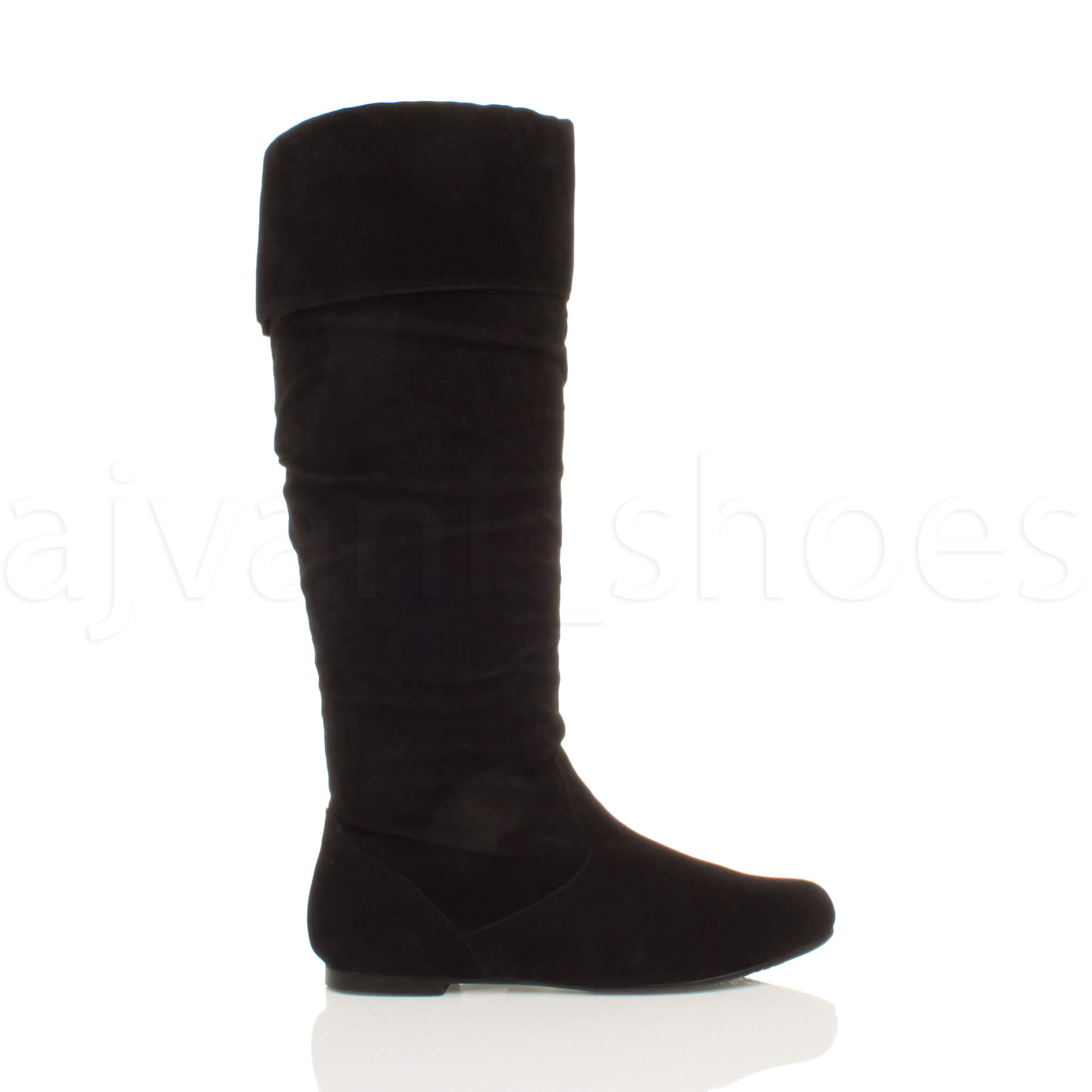 WOMENS LADIES FLAT CUFF KNEE HIGH PULL ON SLOUCH BOOTS SIZE