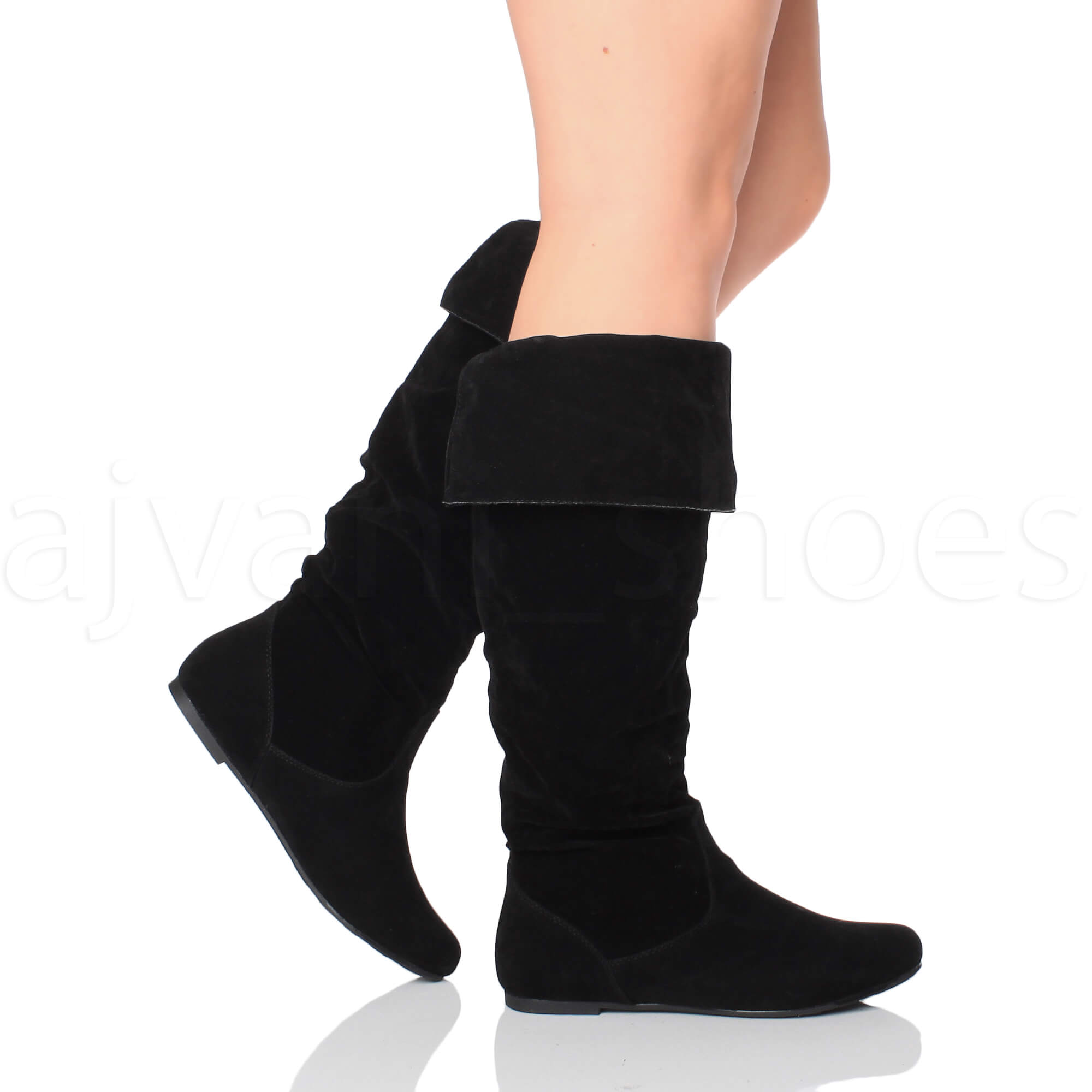 womens flat cuff knee high pull on slouch boots