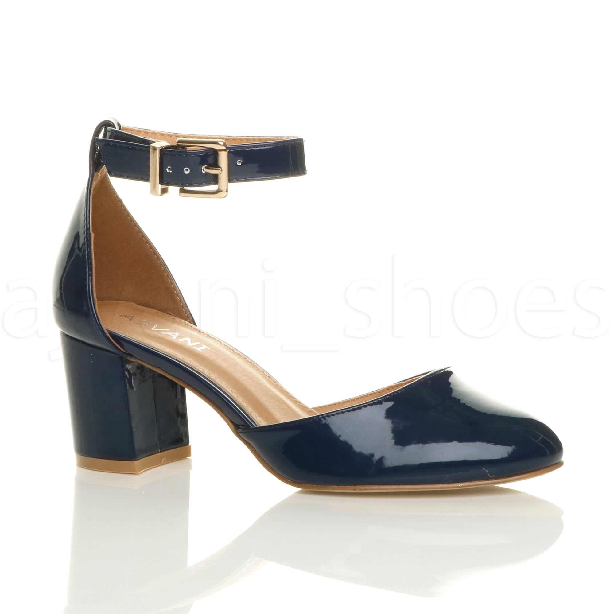 Navy Court Shoes Low Heel With Strap