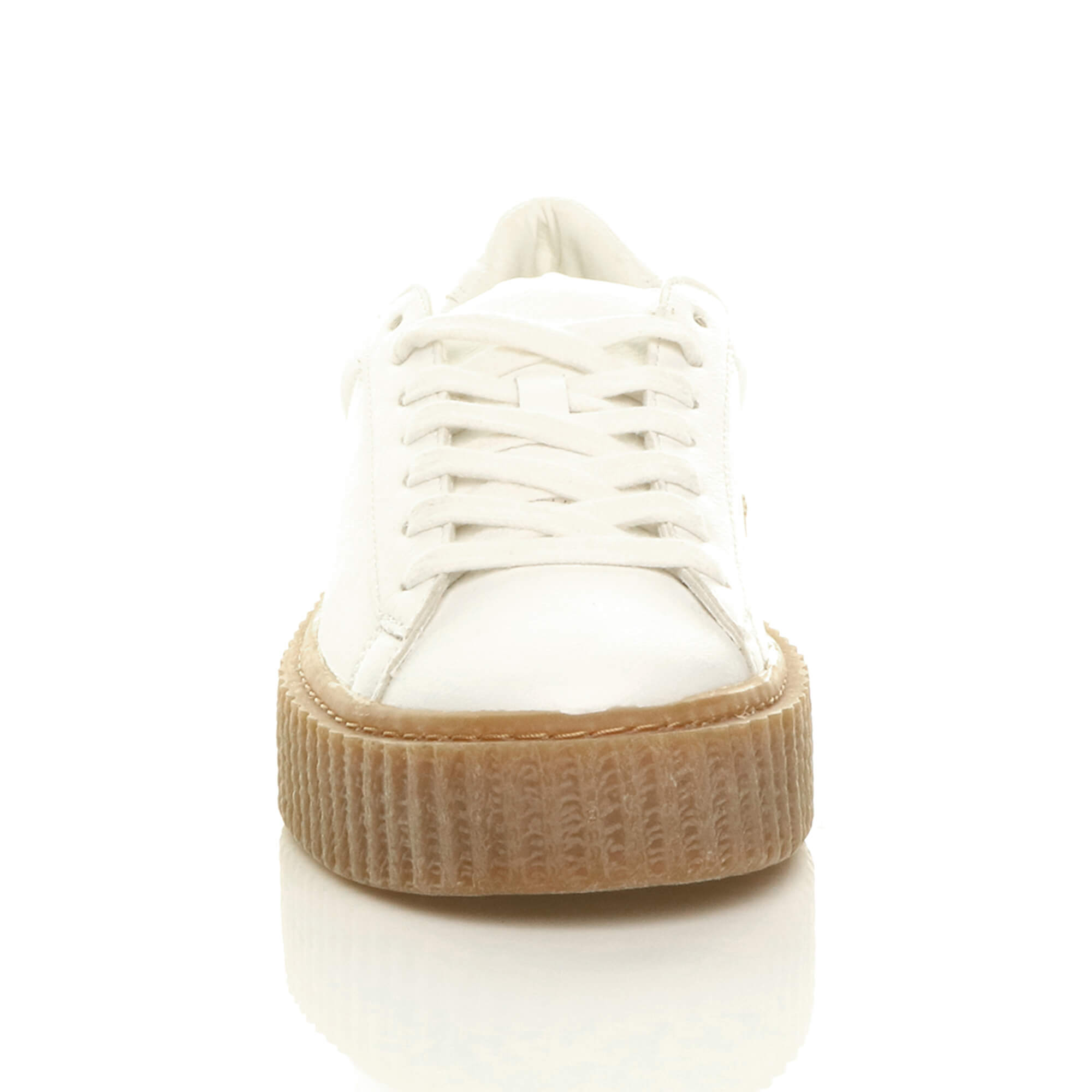 WOMENS LADIES PLATFORM FLATFORM WEDGE CHUNKY LACE UP TRAINERS CREEPERS SIZE