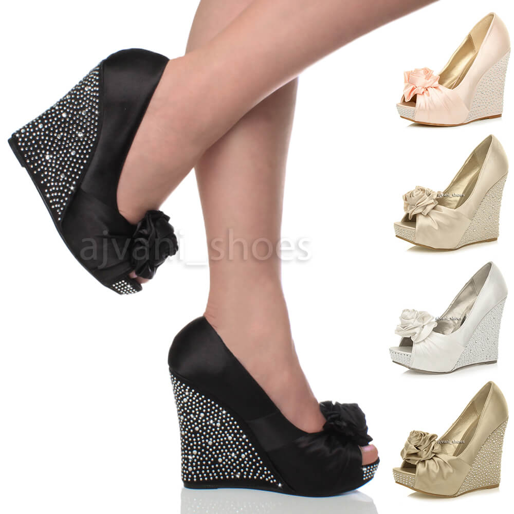 Wedding Wedge Heels: WOMENS WEDDING PLATFORM WEDGE LADIES BRIDAL SANDALS