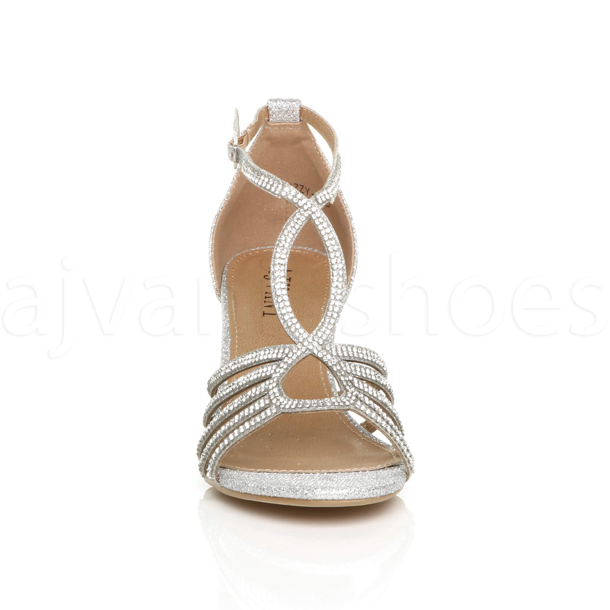 WOMENS LADIES MID HEEL STRAPPY DIAMANTE WEDDING EVENING T-BAR SANDALS SHOES SIZE