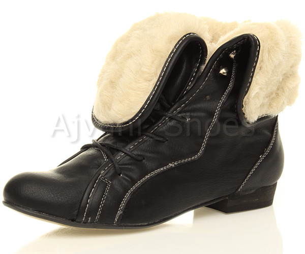 Womens Ladies Pixie Low Heel Fur Cuff Lace Up Vintage Winter Ankle Boots Size