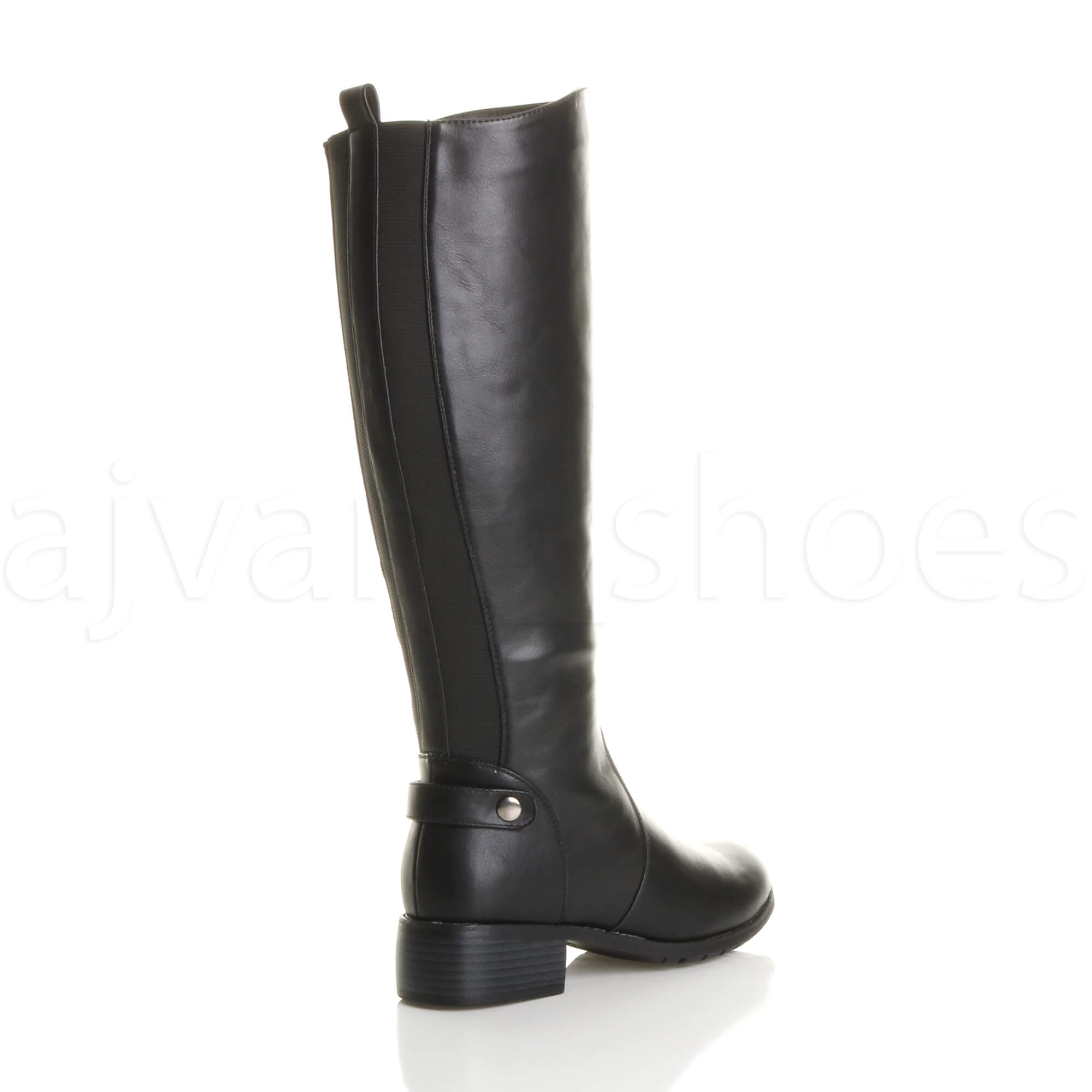 WOMENS LADIES LOW MID HEEL GUSSET STRETCH CHELSEA ZIP CALF RIDING BOOTS SIZE