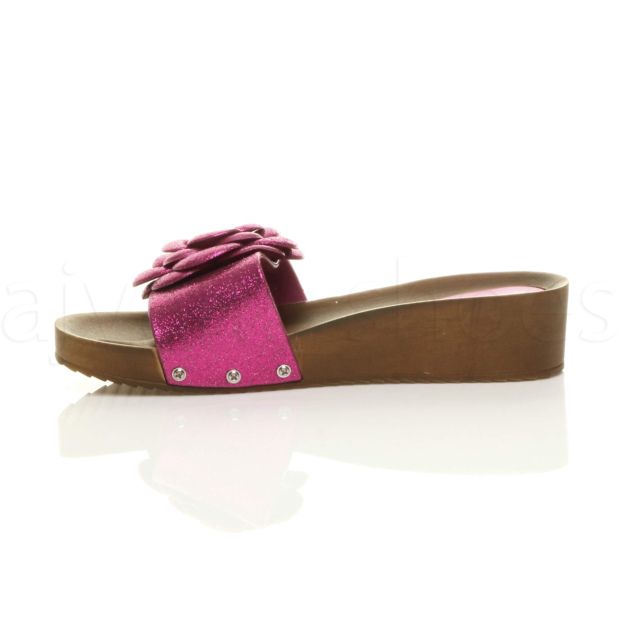 femmes talon moyen compens e paillettes fleur mules sandales claquettes pointure. Black Bedroom Furniture Sets. Home Design Ideas