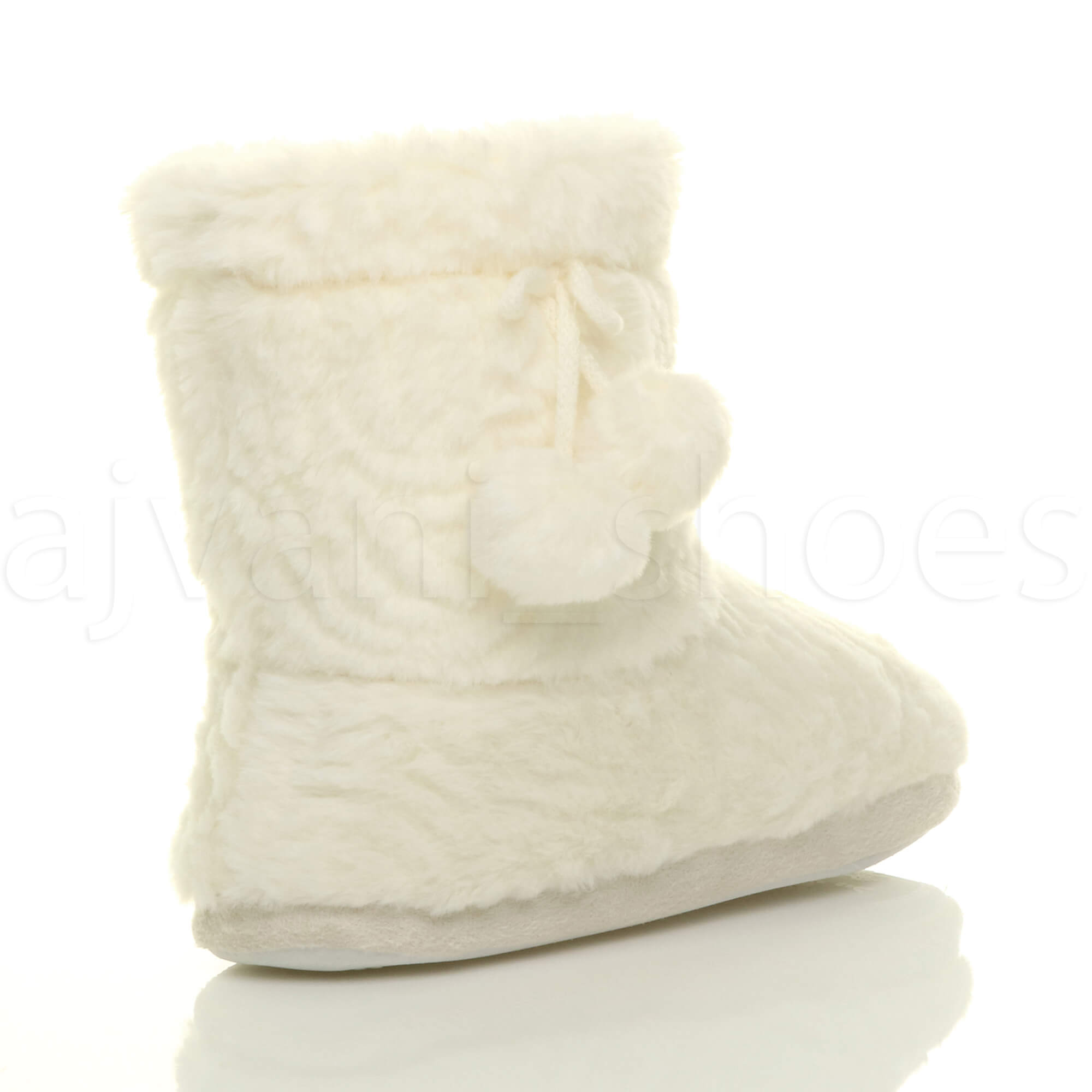 WOMENS LADIES FLAT SOFT FAUX FUR LINED POM POM PULL ON COSY SLIPPER BOOTIES SIZE