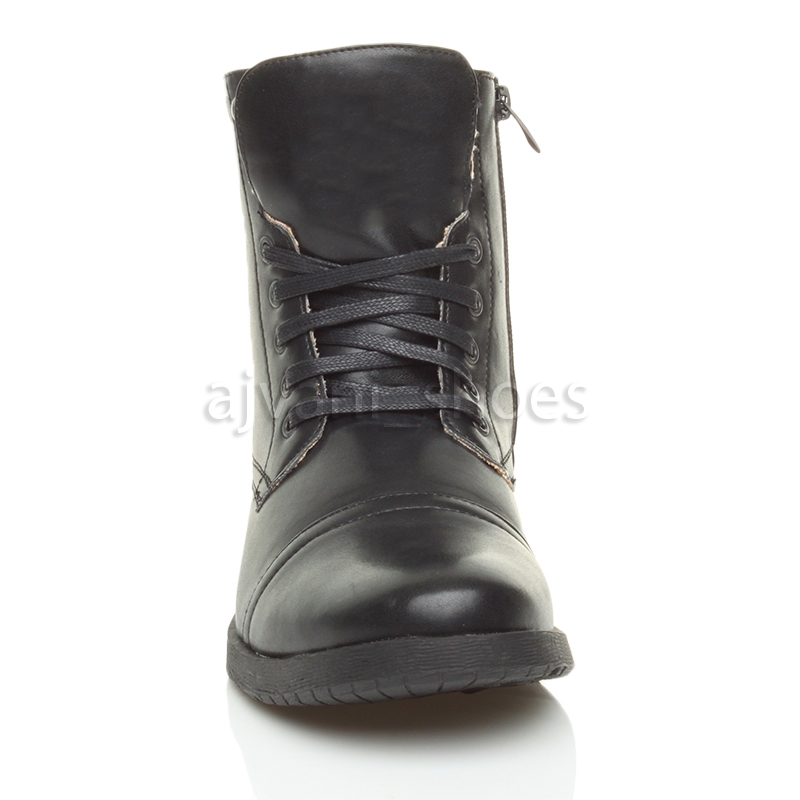 mens low heel biker lace up zip army combat ankle