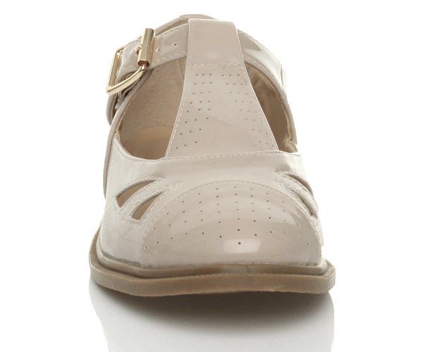 WOMENS-LADIES-FLAT-BUCKLE-T-BAR-CUT-OUT-MARY-JANE-RETRO-BROGUE-SHOES-SIZE