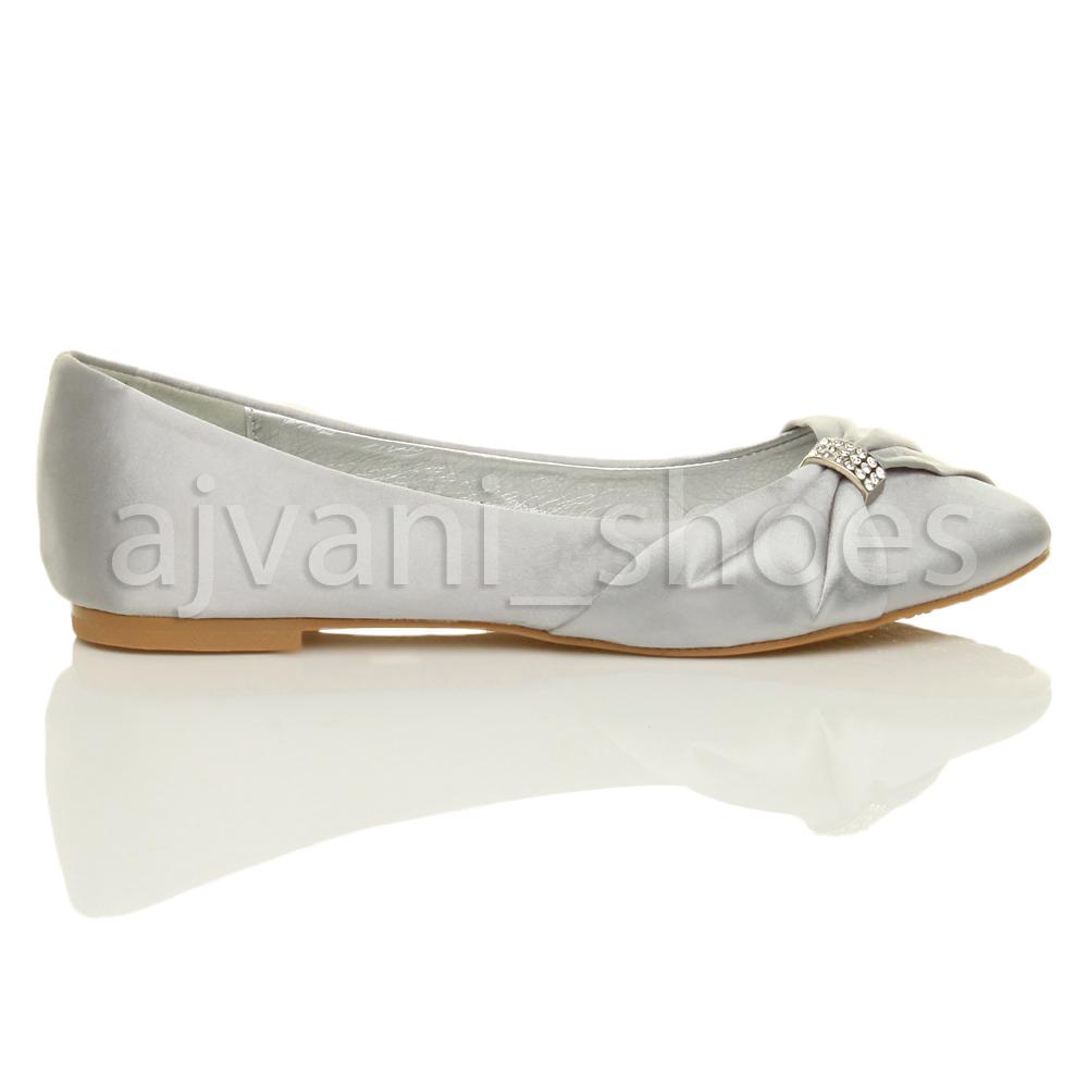 Womens Wedding Shoes: WOMENS LADIES WEDDING BRIDAL EVENING BALLERINA BALLET