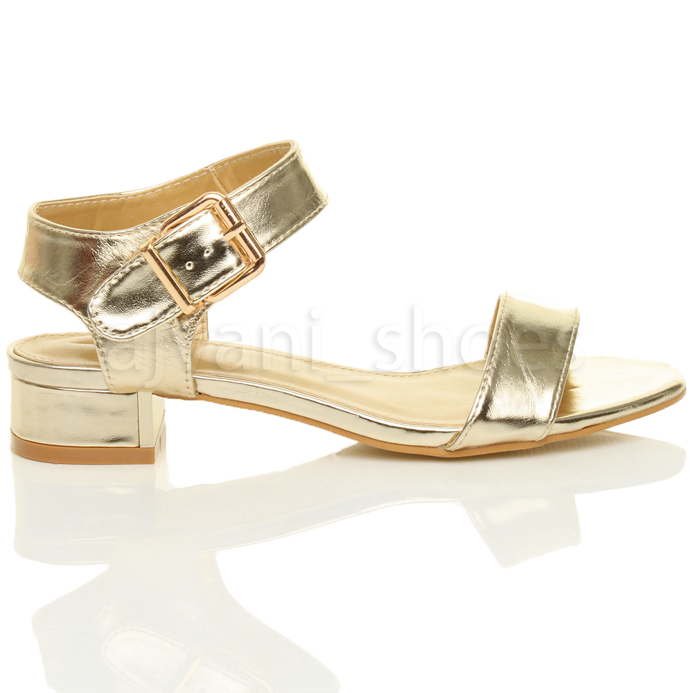 WOMENS LADIES LOW BLOCK HEEL BUCKLE ANKLE STRAP PARTY EVENING SANDALS SHOES SIZE