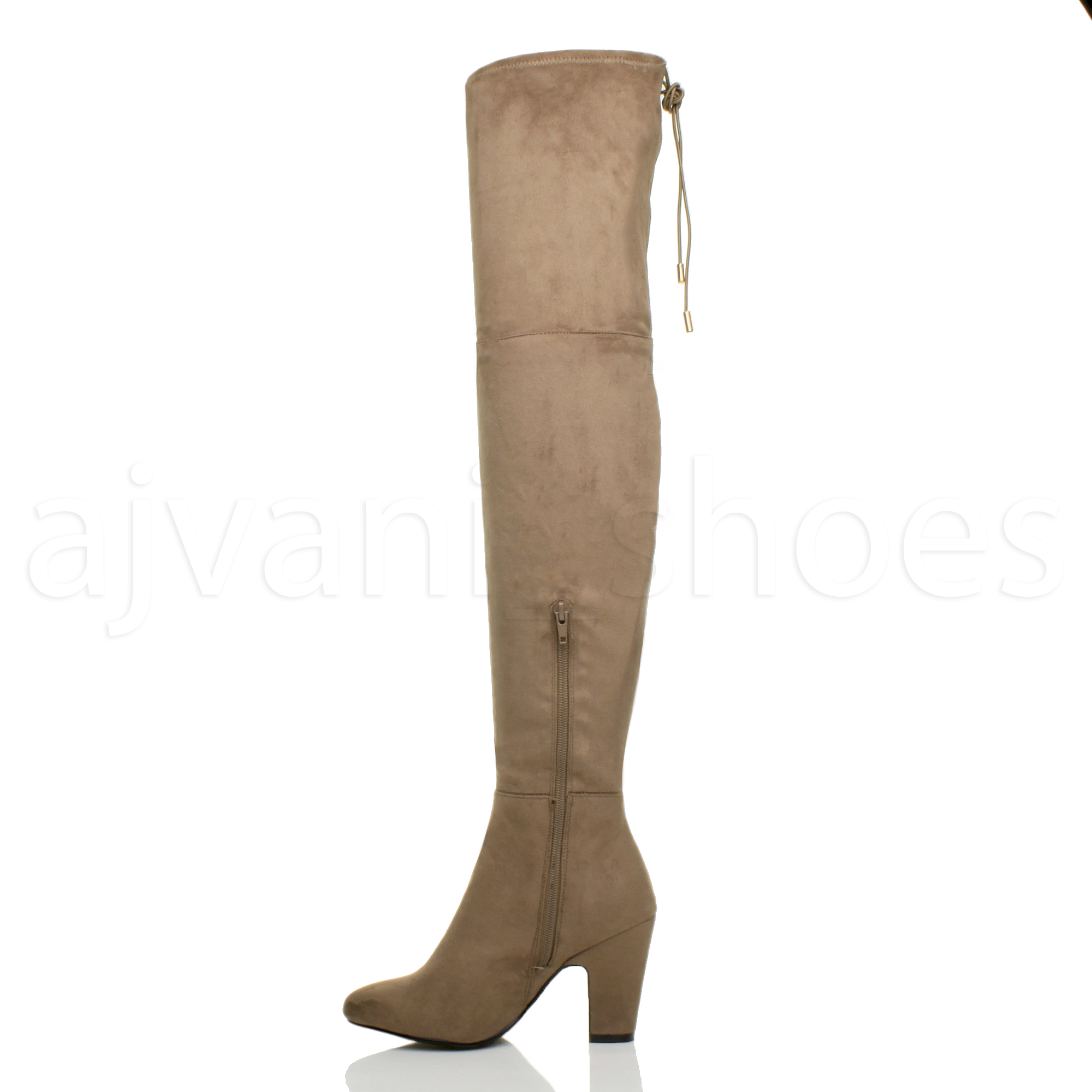 womens high heel zip tie up the knee