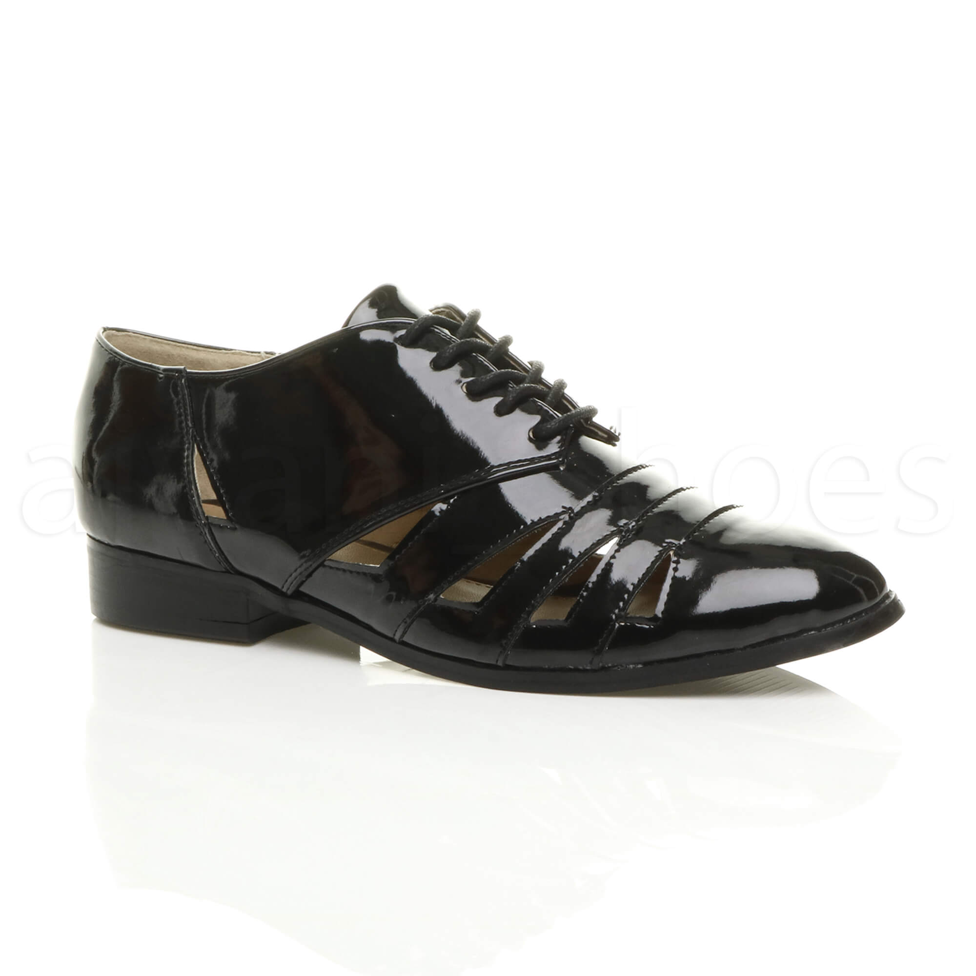 womens flat low heel cut out lace up oxford brogue