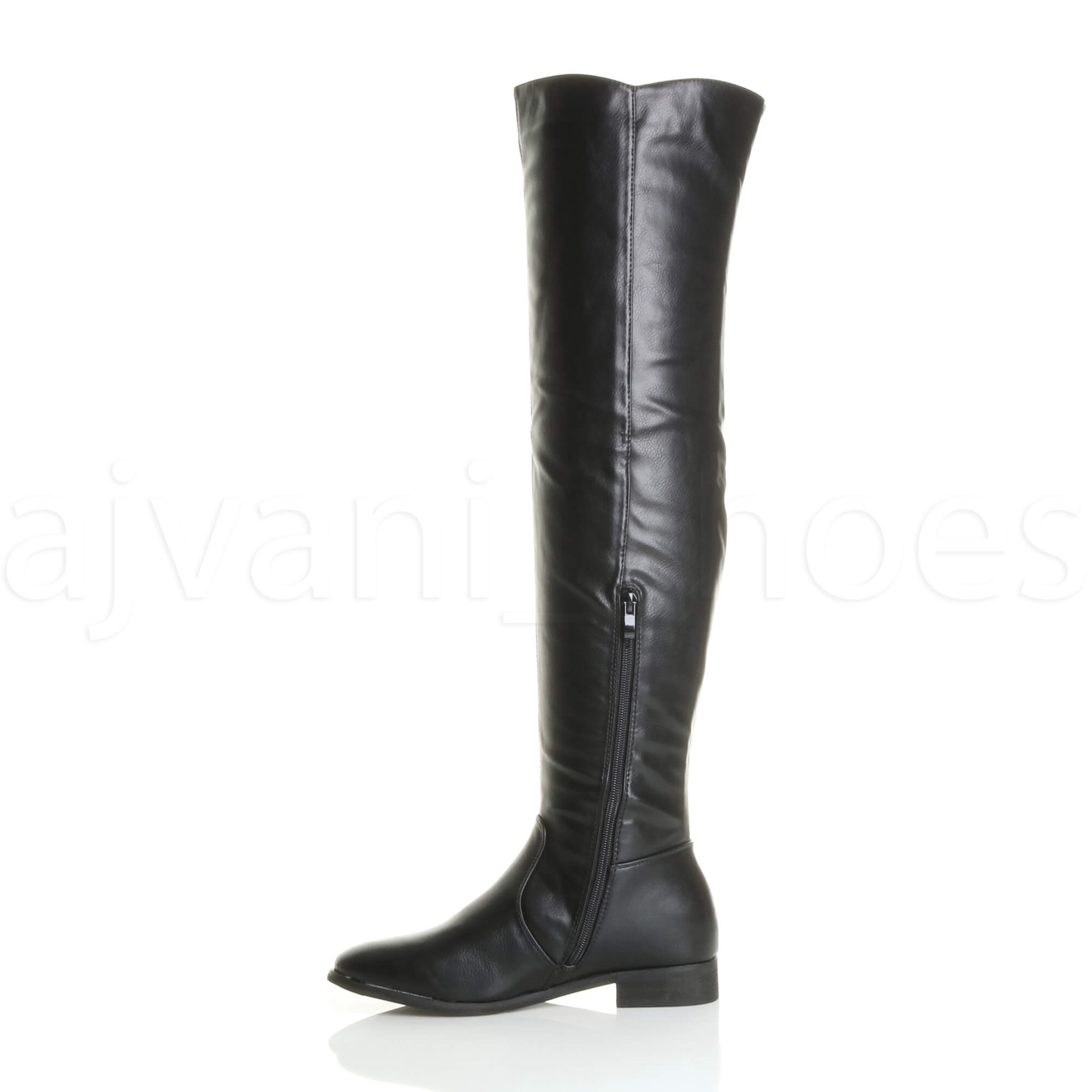 WOMENS LADIES FLAT LOW HEEL CHELSEA ELASTIC STRETCH OVER THE KNEE HIGH BOOTS