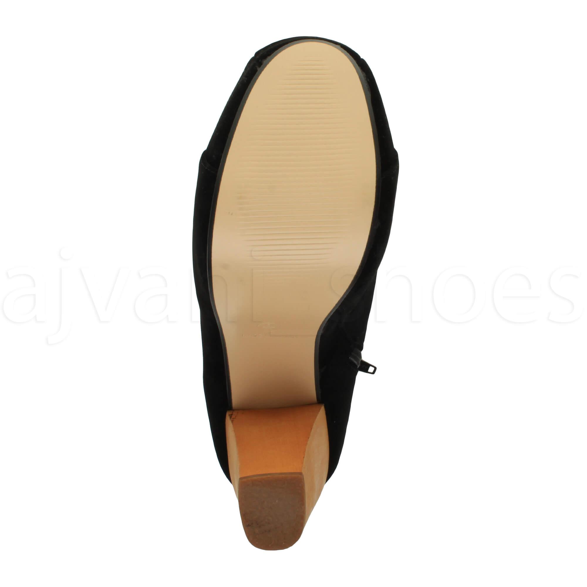 Para-Mujer-senoras-Encaje-Plataforma-bloque-de-madera-de-tacon-alto-Botines-Borceguies-Tamano