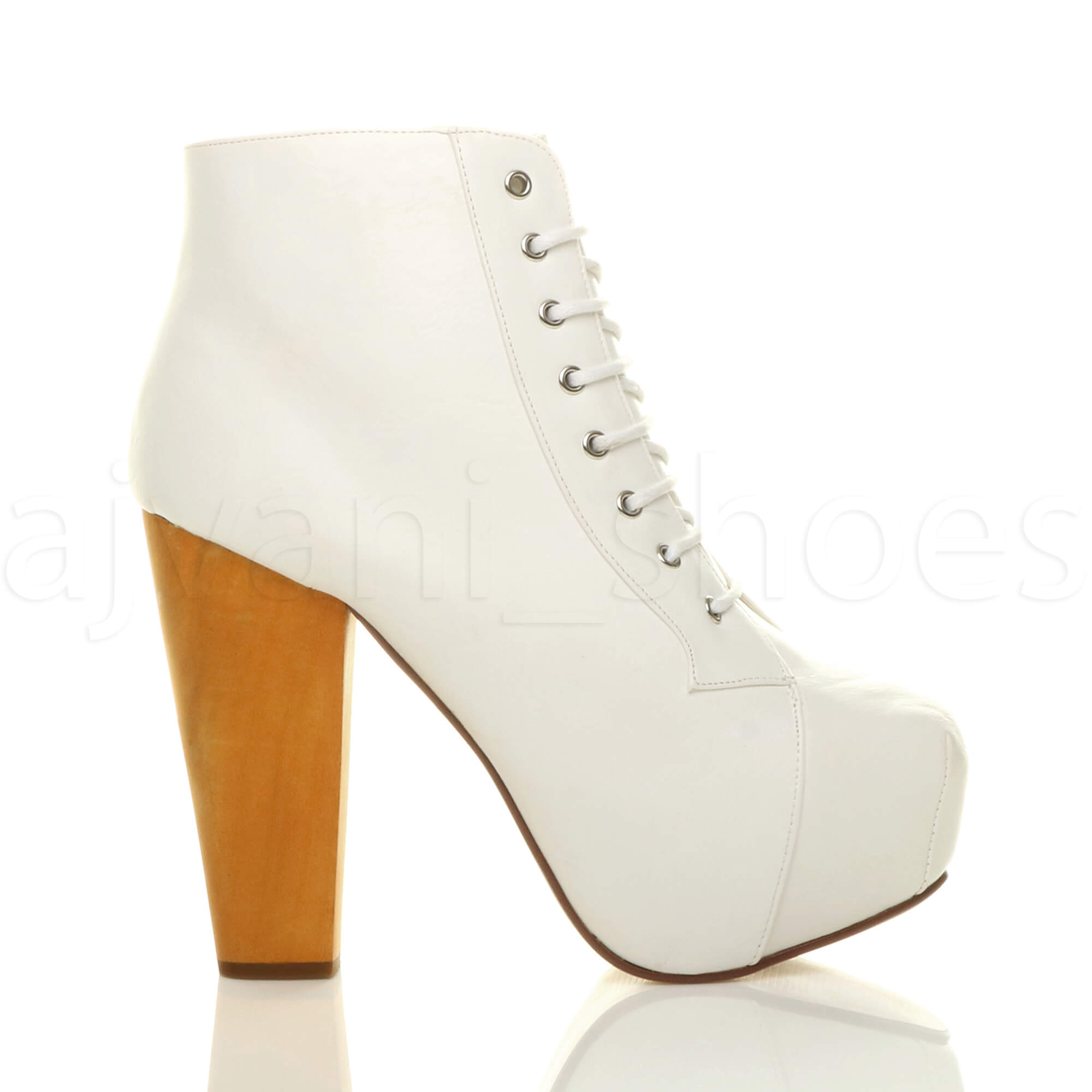 WOMENS-LADIES-LACE-UP-PLATFORM-WOODEN-BLOCK-HIGH-HEEL-BOOTIES-ANKLE-BOOTS-SIZE