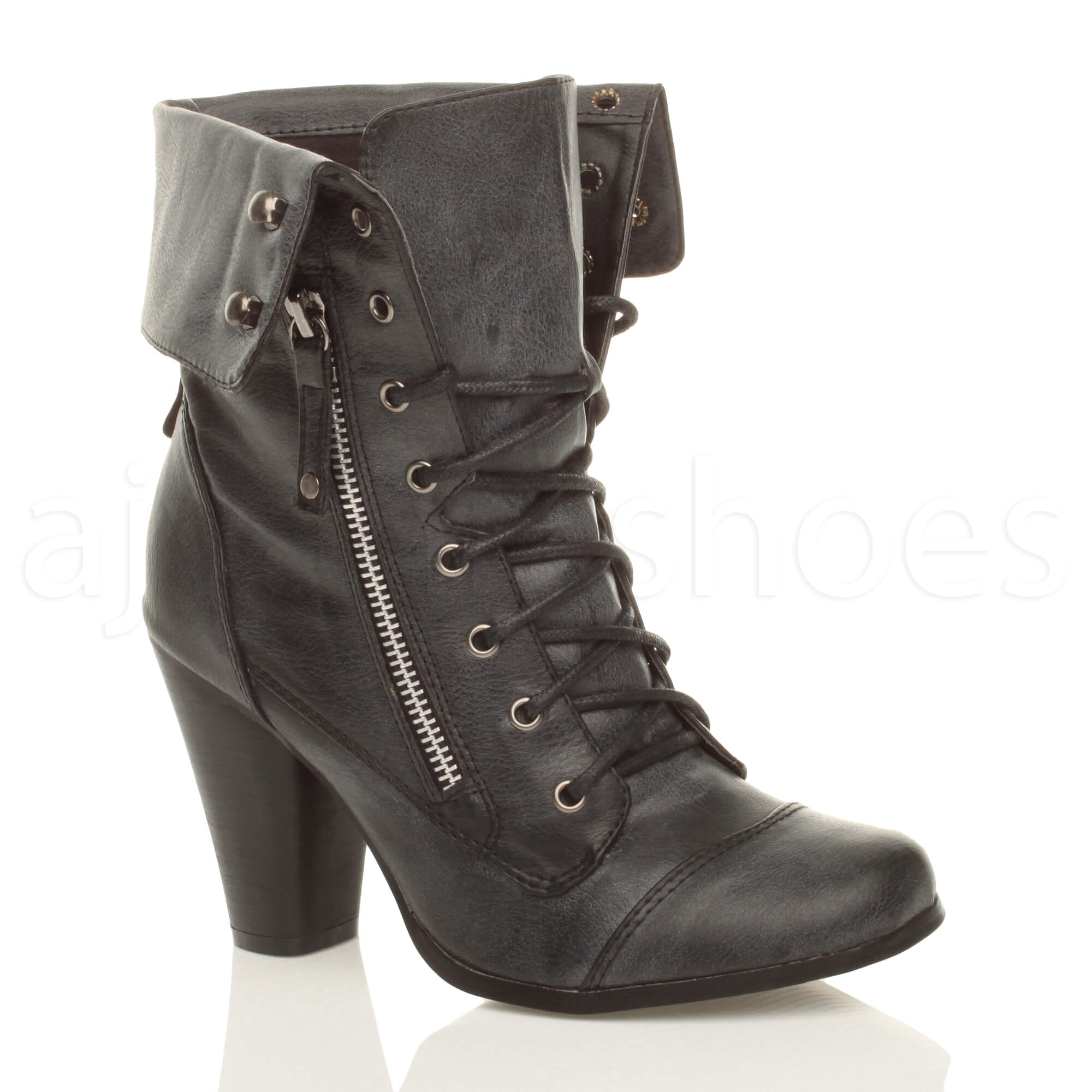 womens cuff collar lace up combat high