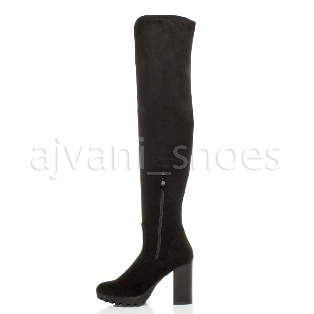 WOMENS-LADIES-BLOCK-HIGH-HEEL-ZIP-OVER-THE-KNEE-HIGH-THIGH-STRETCH-BOOTS-SIZE