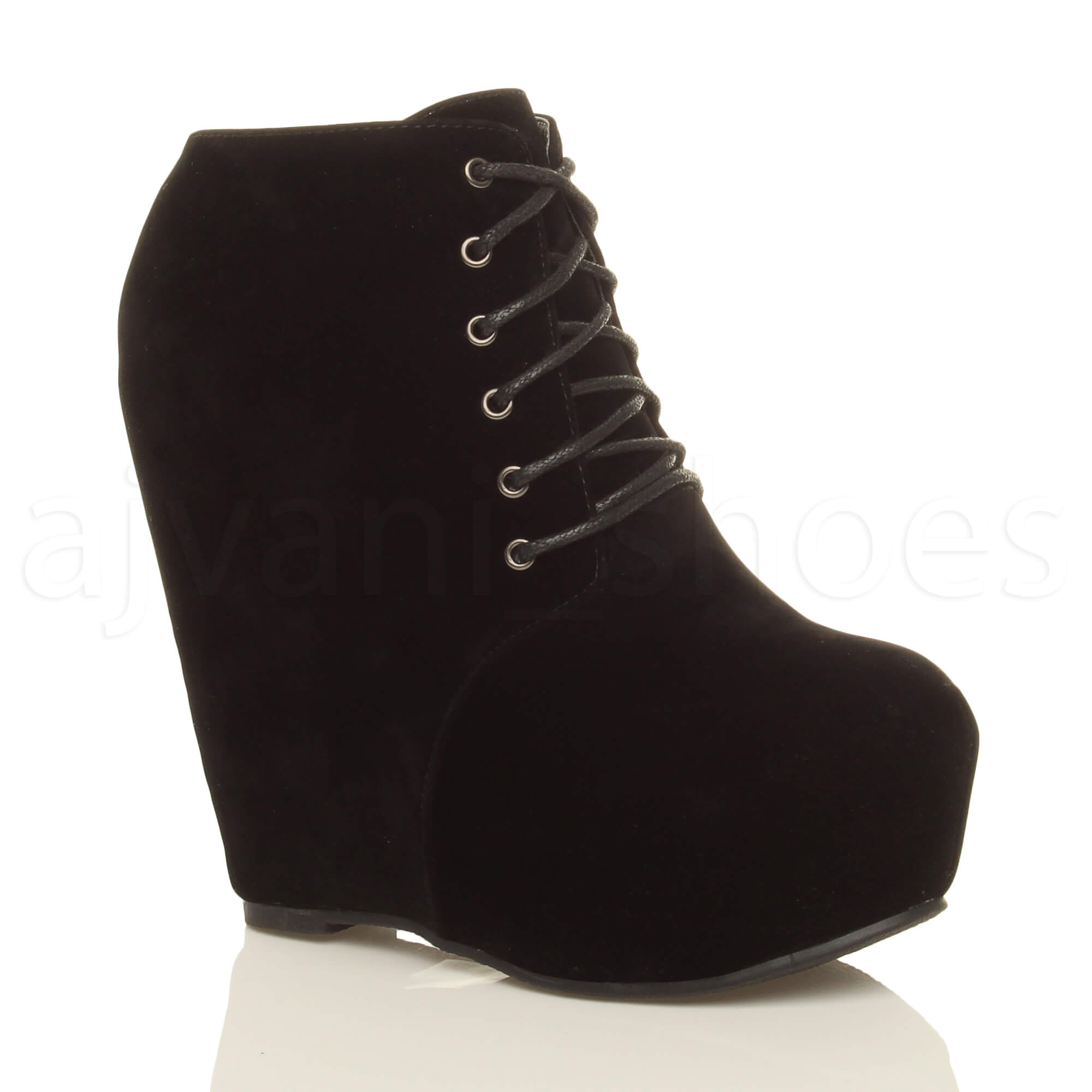 WOMENS-LADIES-HIGH-WEDGE-HEEL-PLATFORM-STUDDED-SPIKED-GOTH-PUNK-ANKLE-BOOTS-SIZE