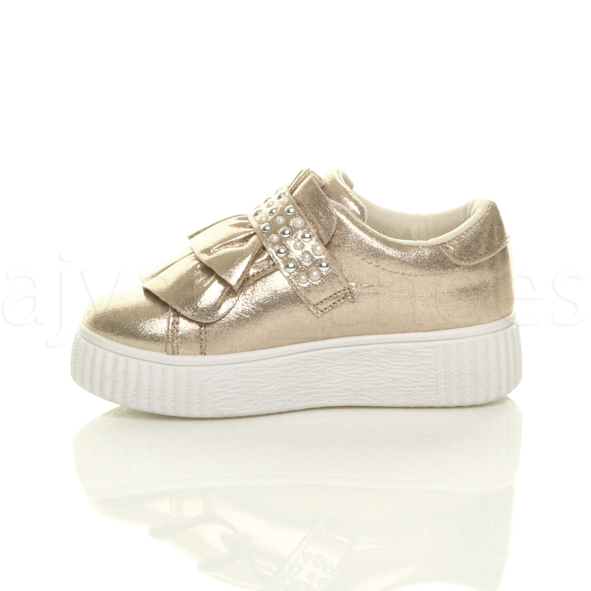 GIRLS KIDS CHILDRENS FLATFORM RUFFLE STUDDED PARTY TRAINERS PUMPS SHOES SIZE