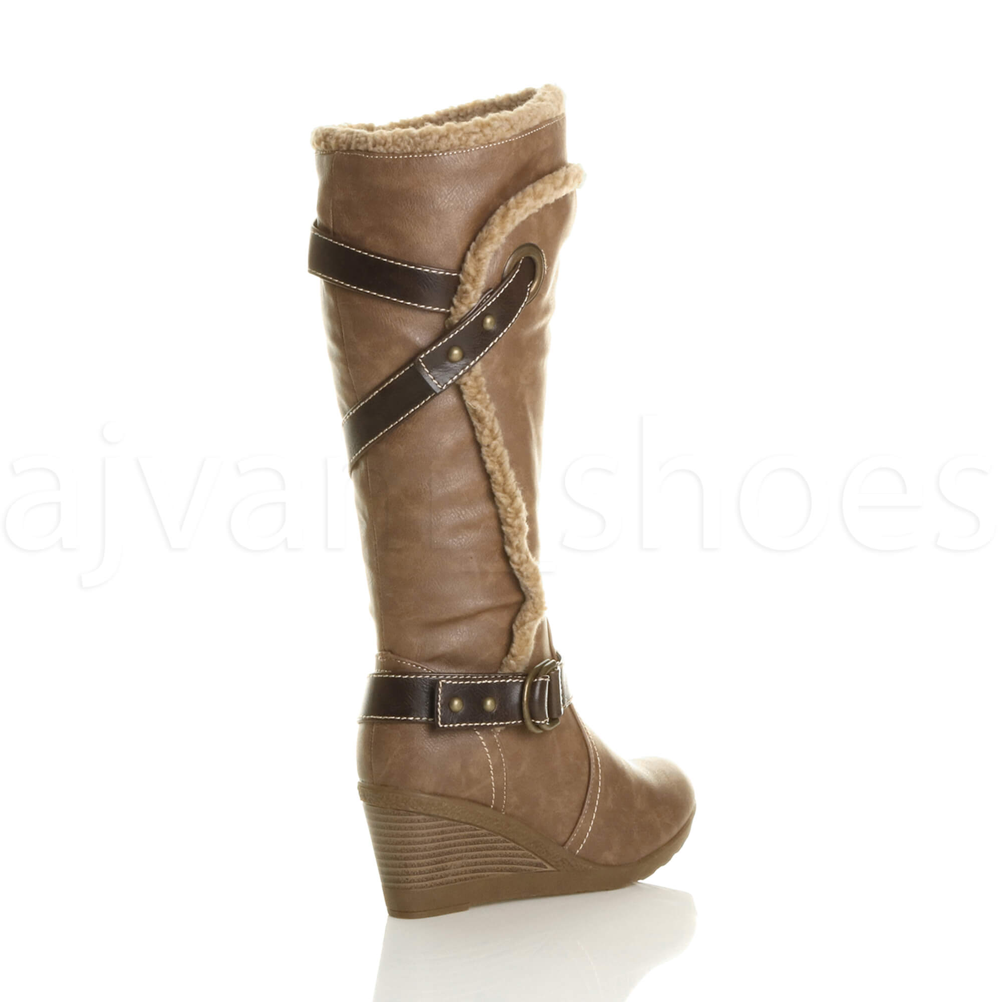 Mujeres-borde-de-piel-invierno-botas-de-cana-alta-bajo-tacon-medio-cuna-talla