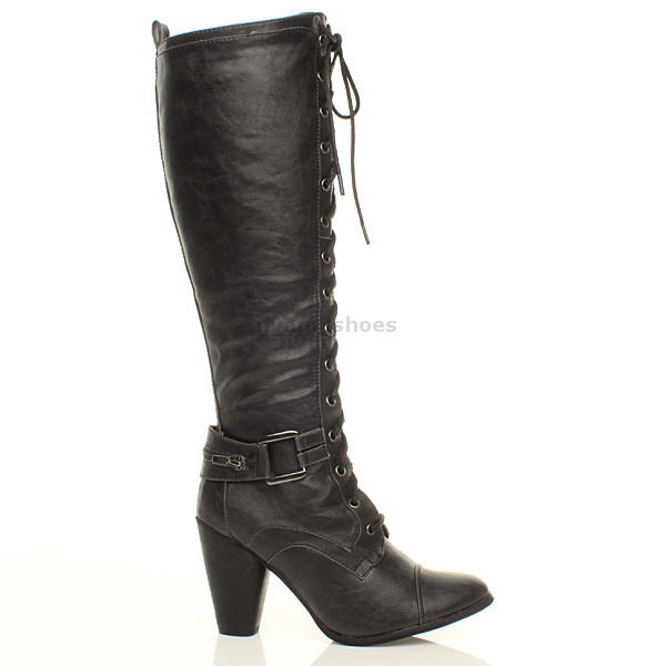 womens biker lace up zip knee high heel