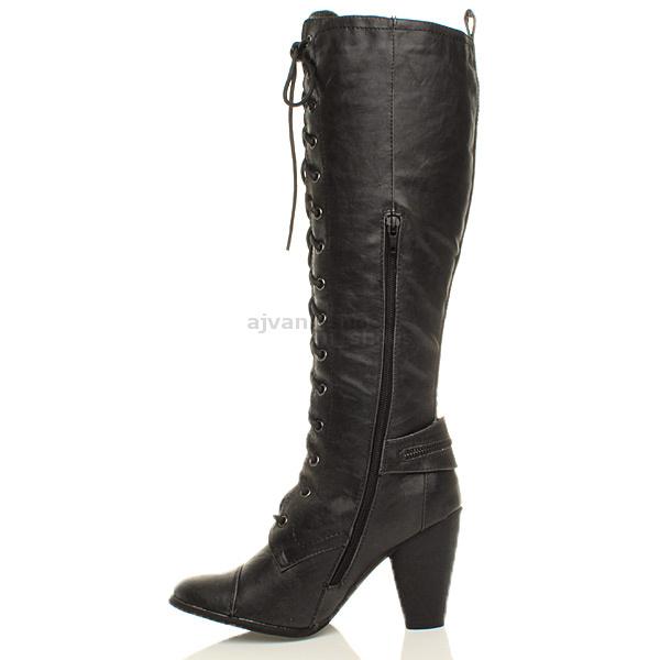 womens biker lace up zip knee high heel