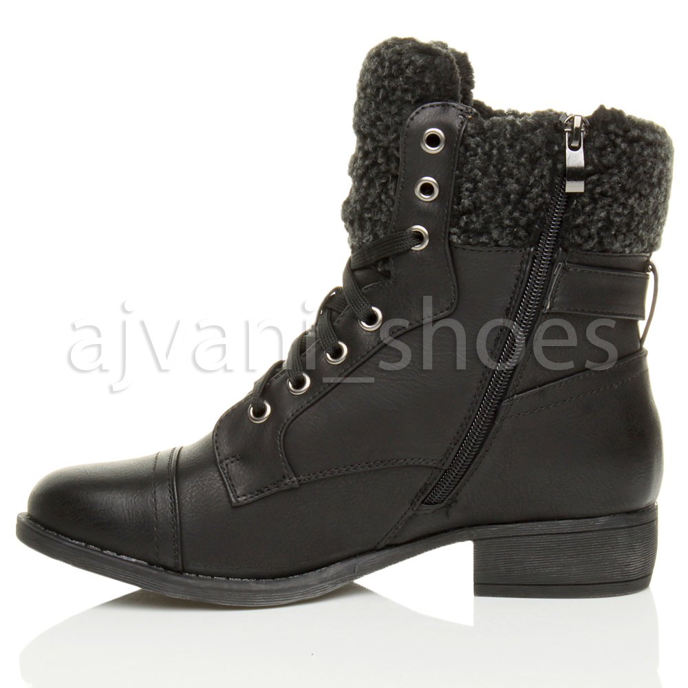 womens low heel lace up zip fur lined winter