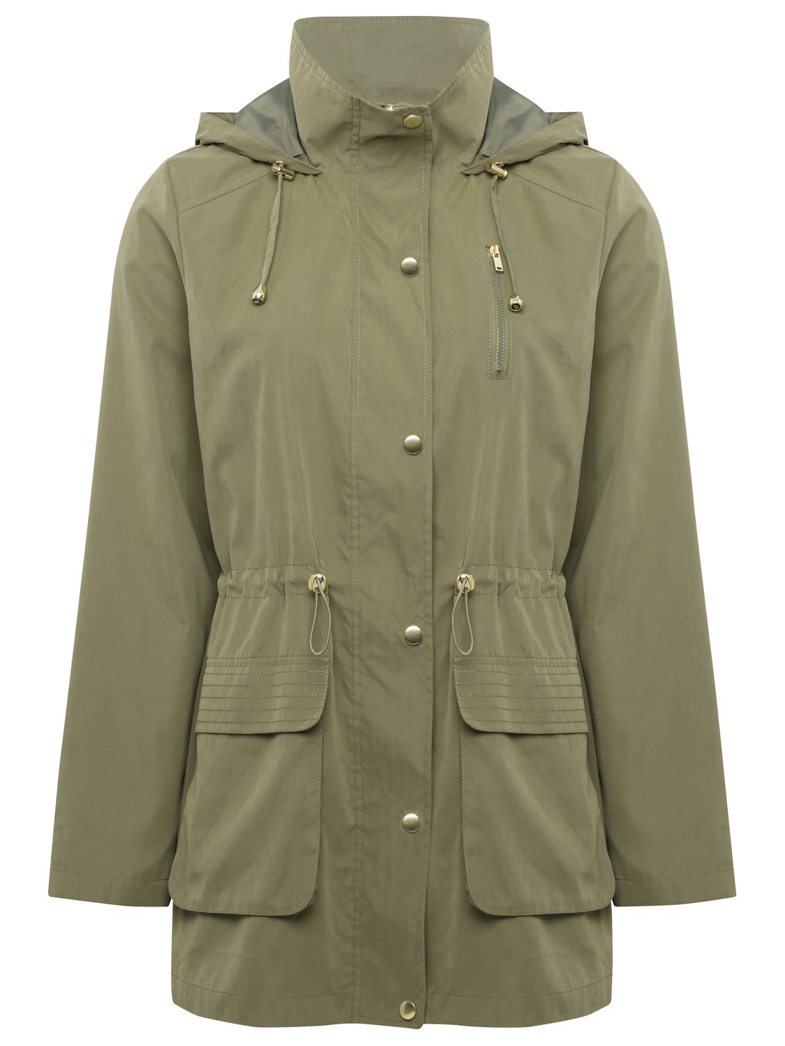 Women's Ladies Long Sleeve Hooded Front Pocket Draw Cord Waist Lightweight Casual Parka Jacket