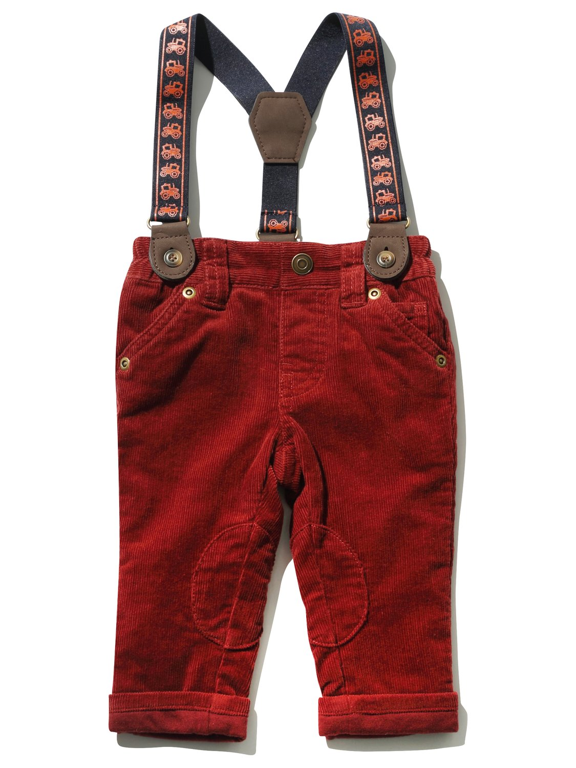 Baby boy textured cord cotton mix turn up trousers with truck pattern braces   Rust